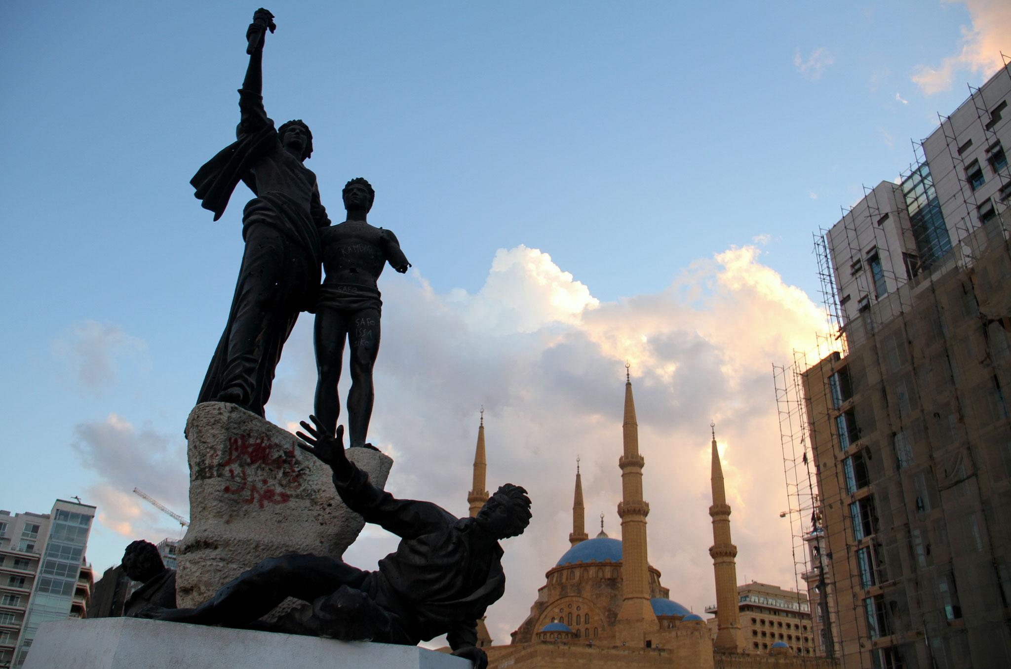 Place des Martyrs à Beyrouth, épicentre de la contestation.( photo Léa Thomas)