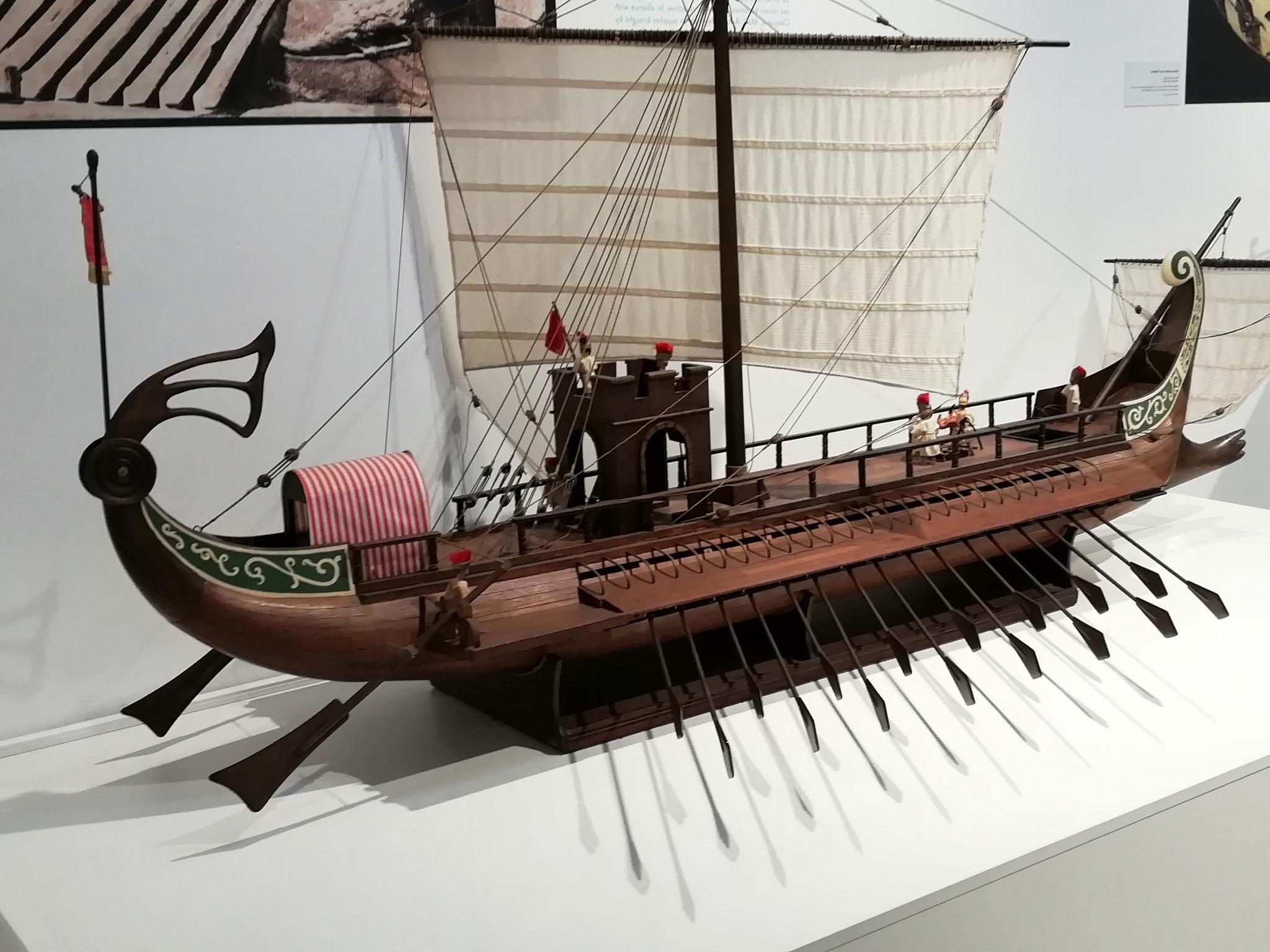 La maquette d'uns trière romaine du VII e siècle av J.C.
