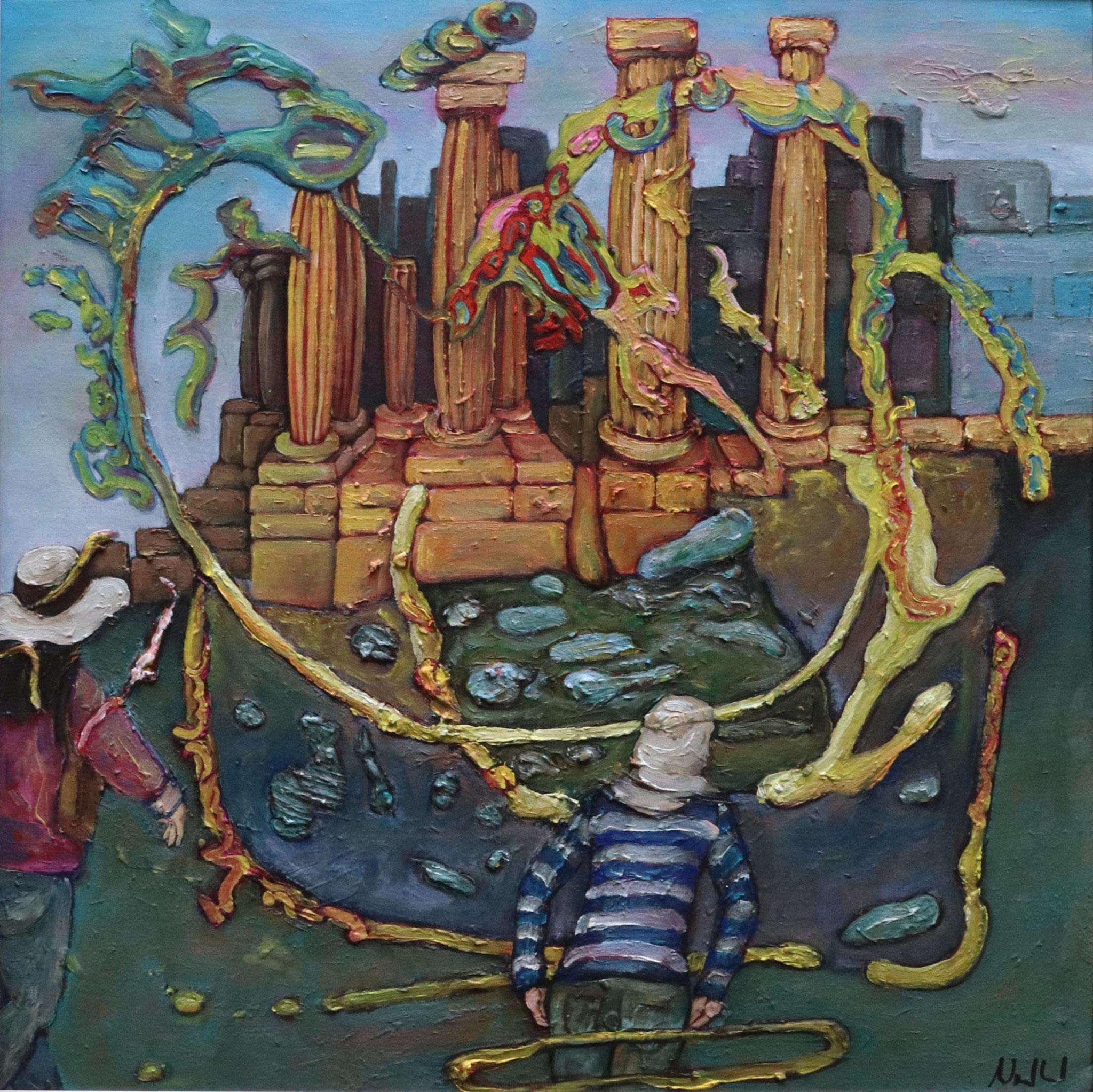 Gerasa I · Acryl, Öl auf Nessel, 40 x 40 cm