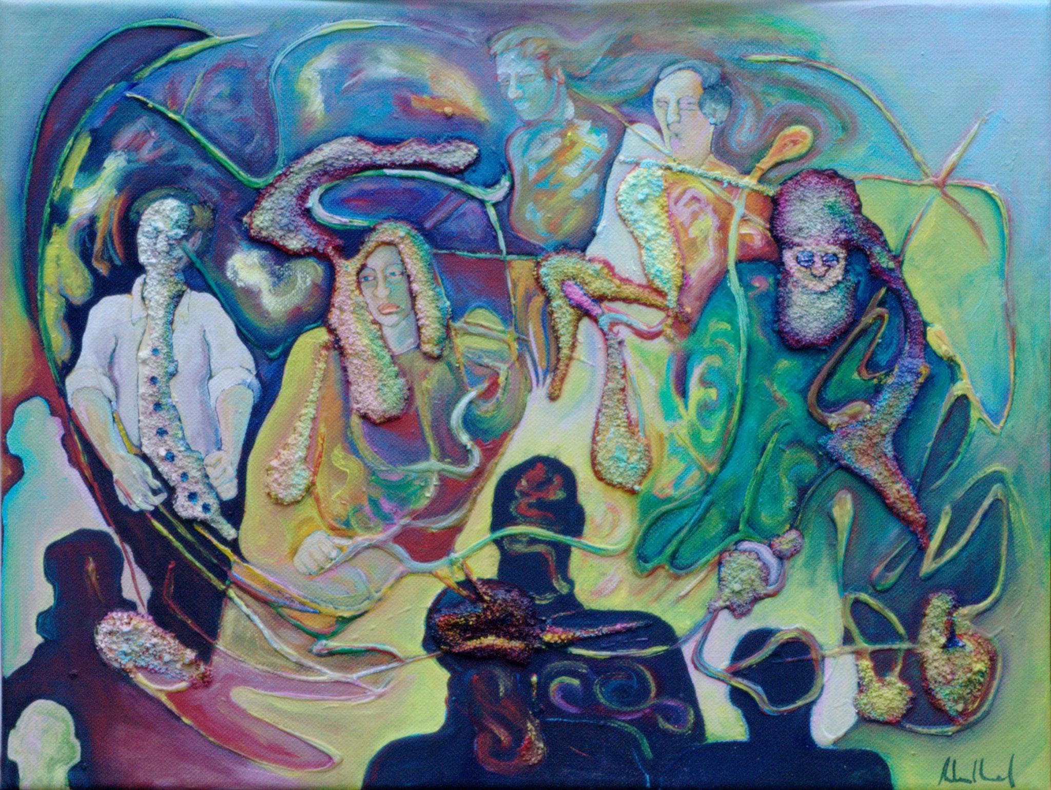Wabernde Klänge · 2016 · Acryl, Öl auf Nessel, 40 x 50 cm