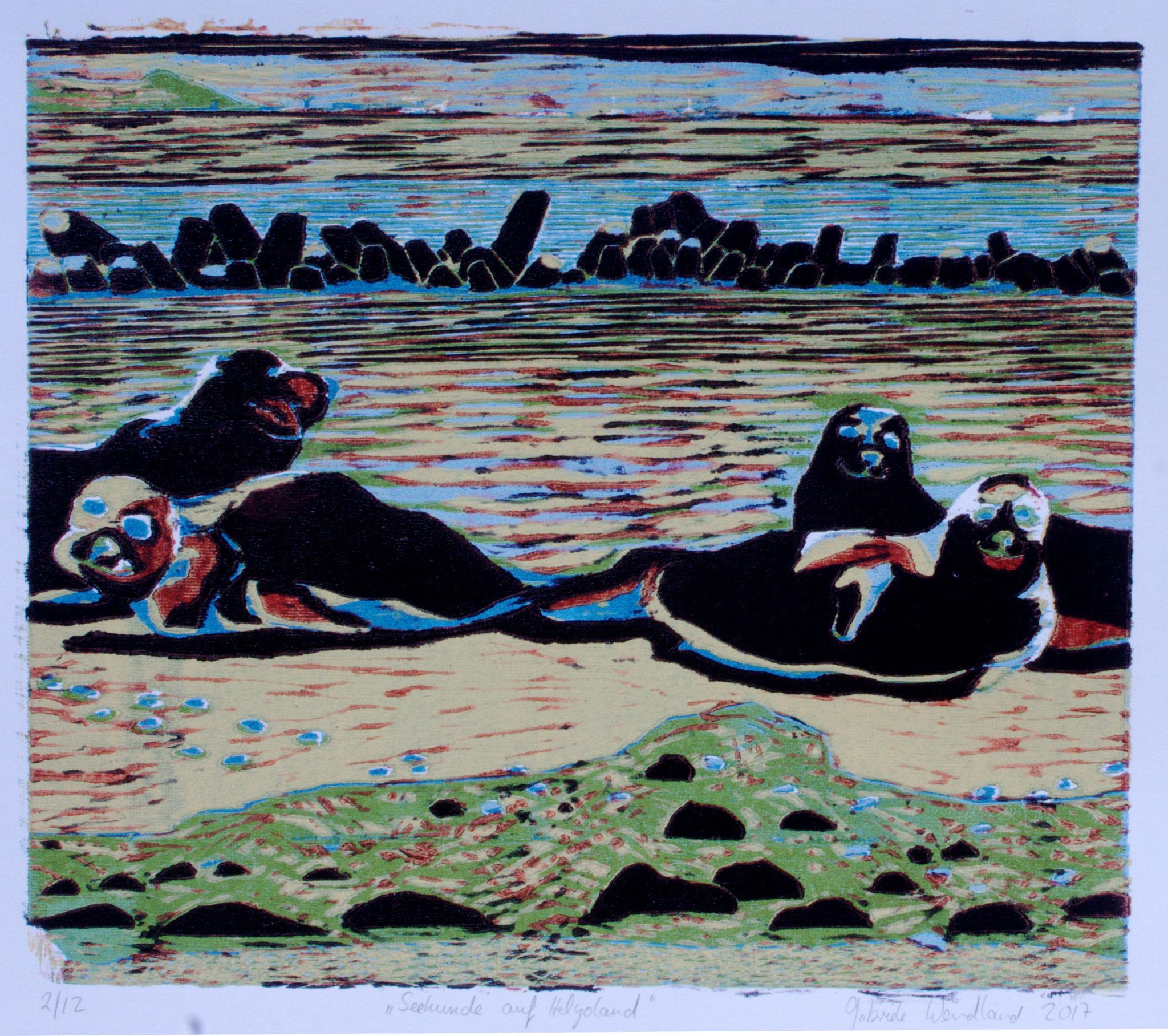 Seehunde auf Helgoland ·2017, Holzschnitt 26 x 30 cm