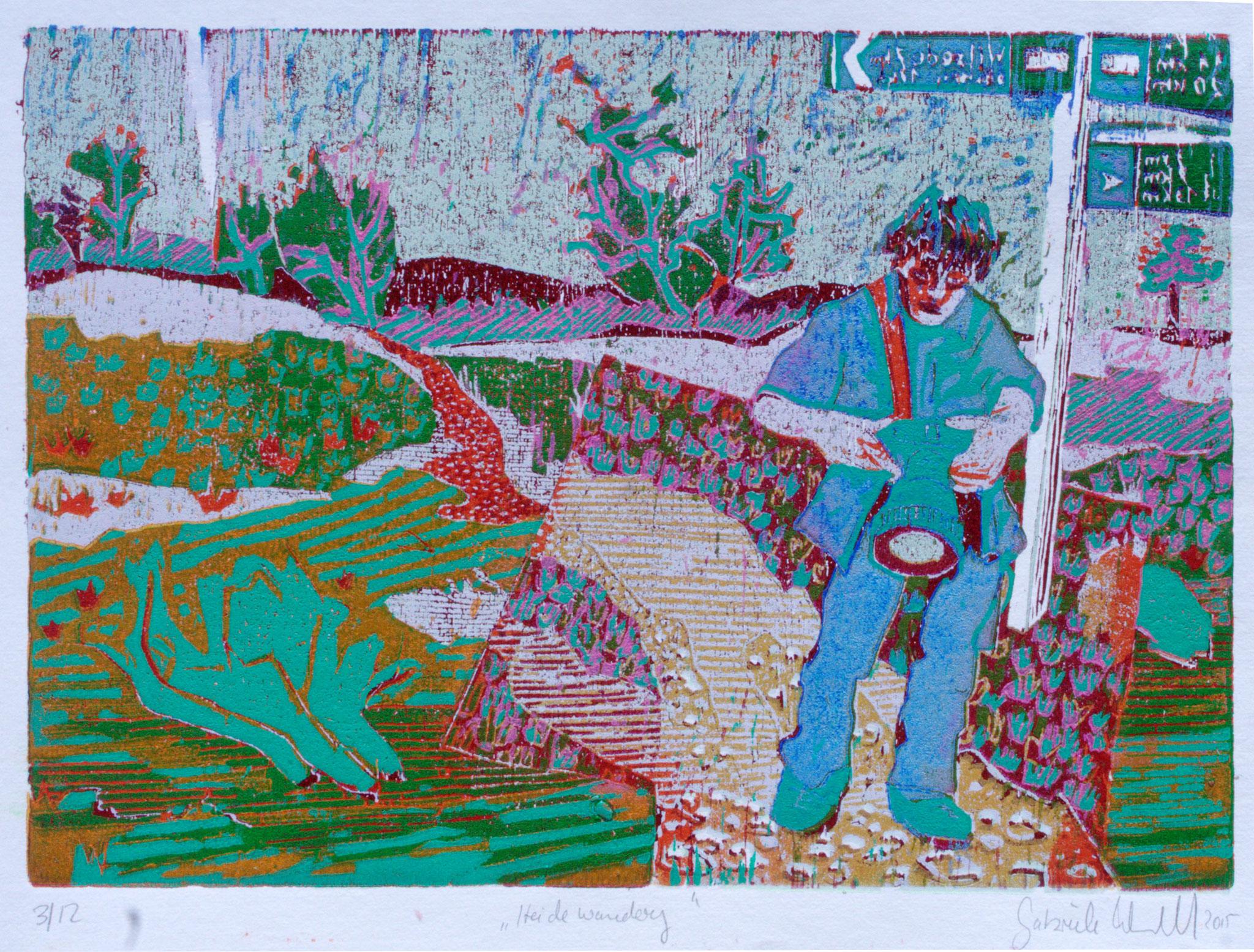 Heidewanderung · 2017, Holzschnitt 21 x 30 cm