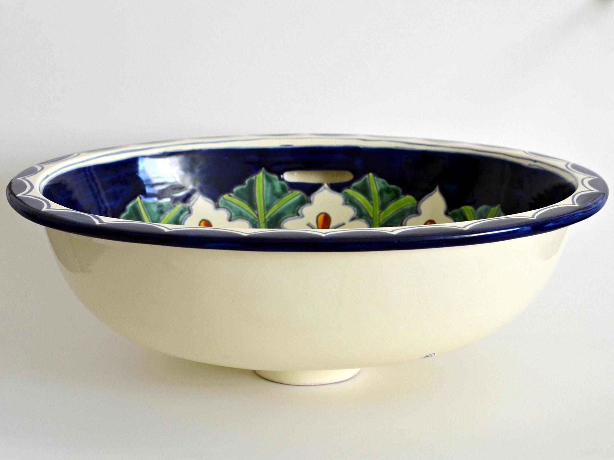 Einbauwaschbecken mit Calla Muster aus Mexiko - Handbemalt