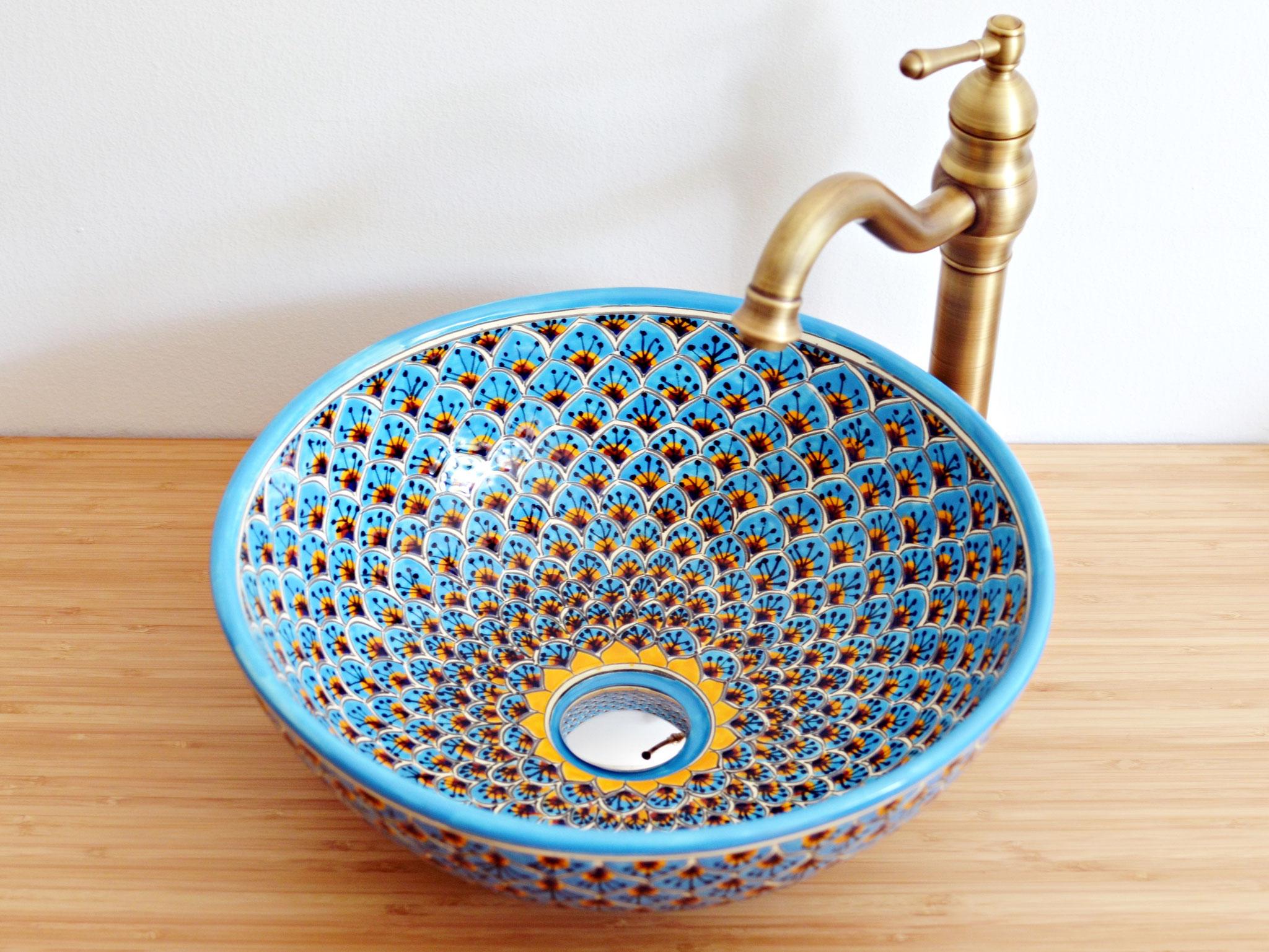 Design Aufsatzwaschbecken aus Mexiko - PAVO türkis