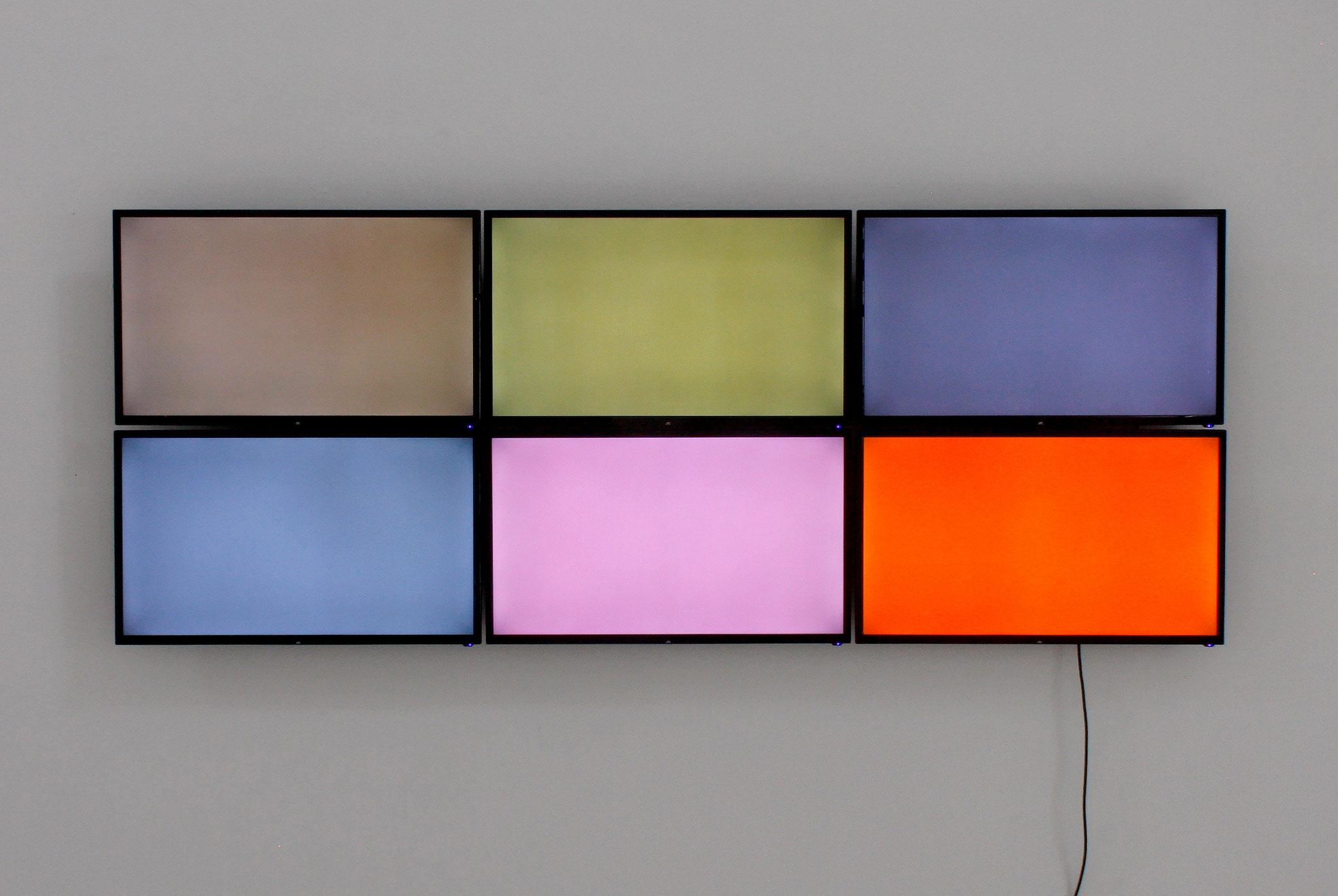 Daniel Schörnig  REFLEXION II  2021  |  6 monitors  wall installation  video  145 min