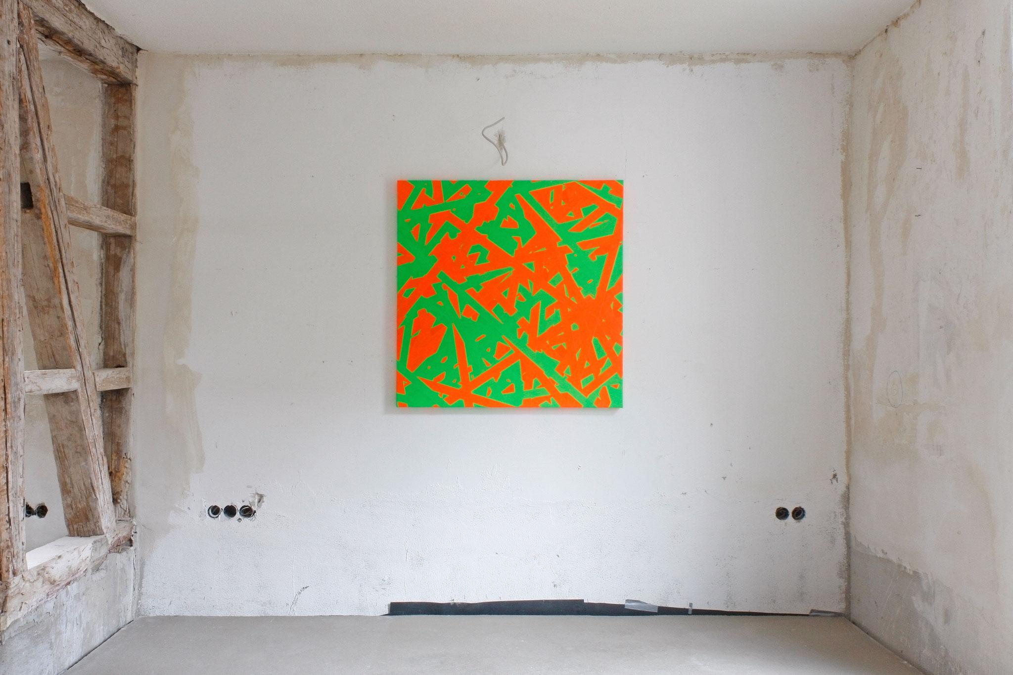 FLASH 44  Daniel Schörnig  SIGNAL (orange, grey)  2018 |   marking tape on canvas |  New Space Brigitte March ICA