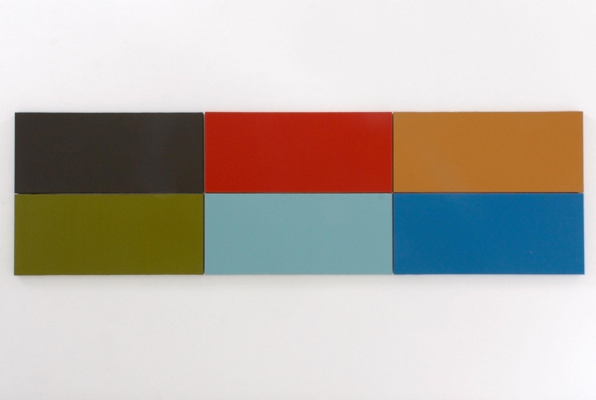 Daniel Schörnig  FILM COLORS II  2015-2021  |  acrylic on canvas in six parts  125 x 425 cm