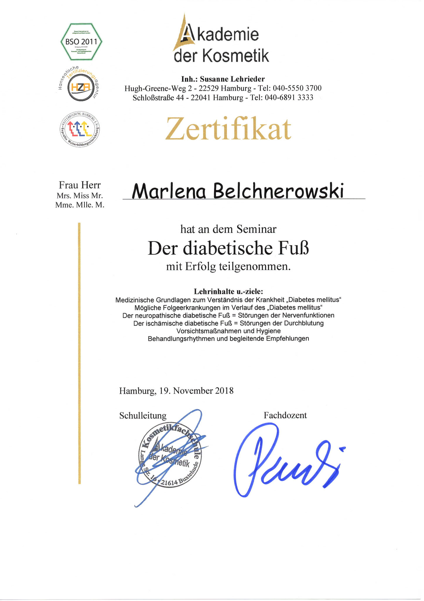 Fußpflege Hamburg Diplom 2
