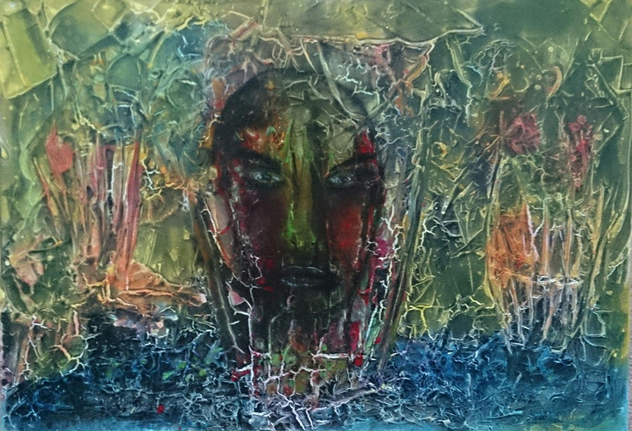 """""""Der Mensch in der Schöpfung I"""" Acryl auf Leinwand 70x100x4cm"""