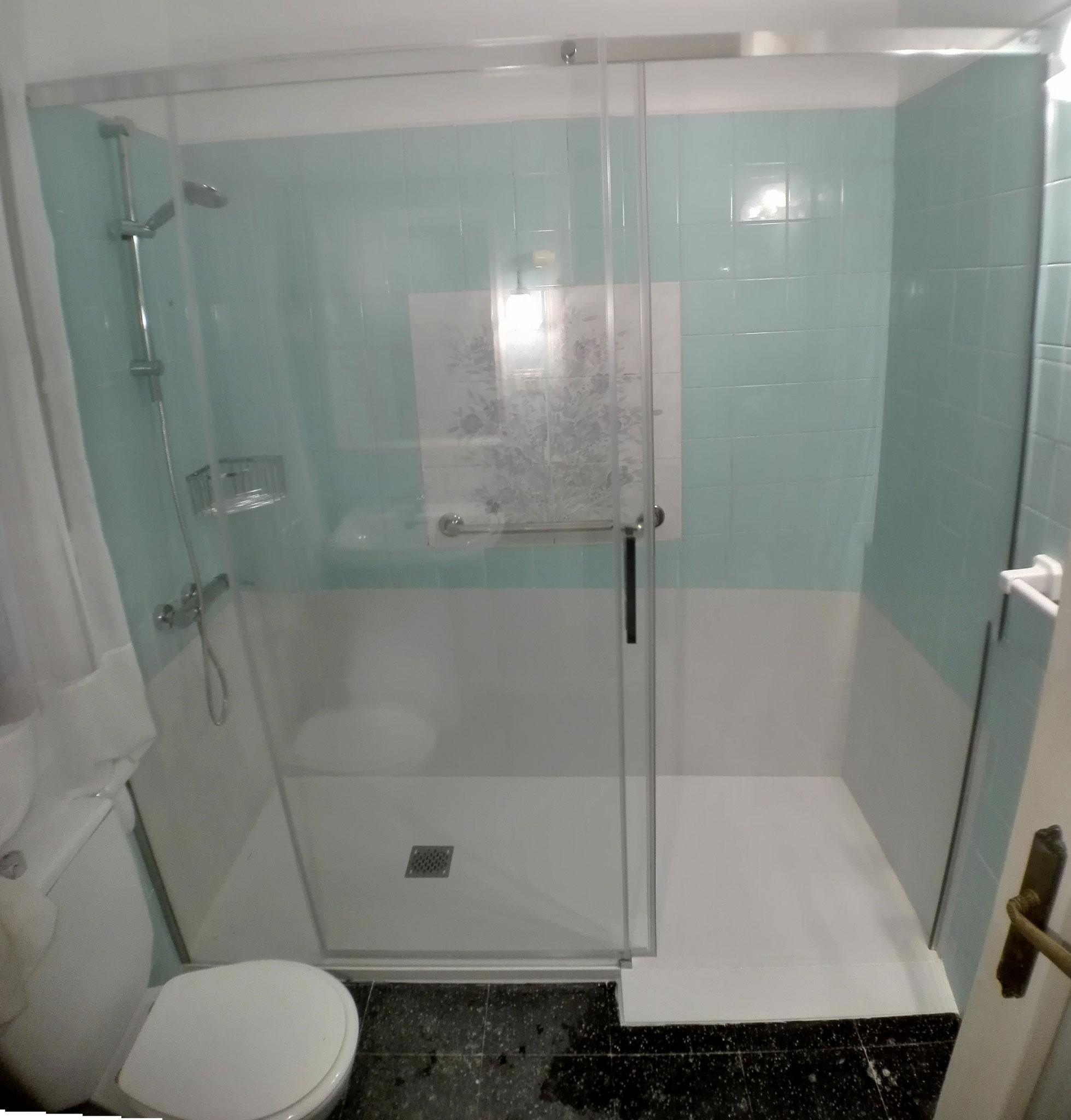 cambio de bañera a ducha con plato de pizarra y rampa de acceso al plato del mismo material