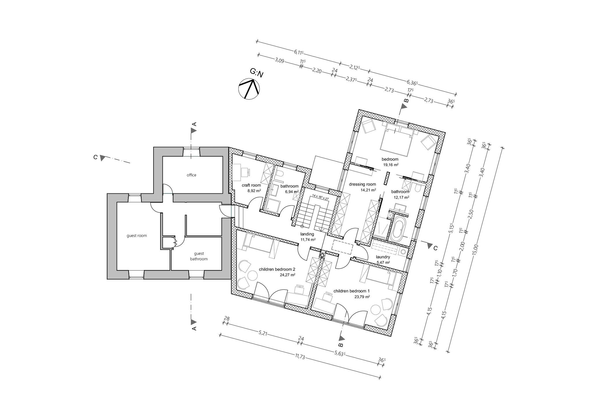 Grundriss, Obergeschoss, Teilabbruch und Neubau Wohnhaus mit Garage in Rynys