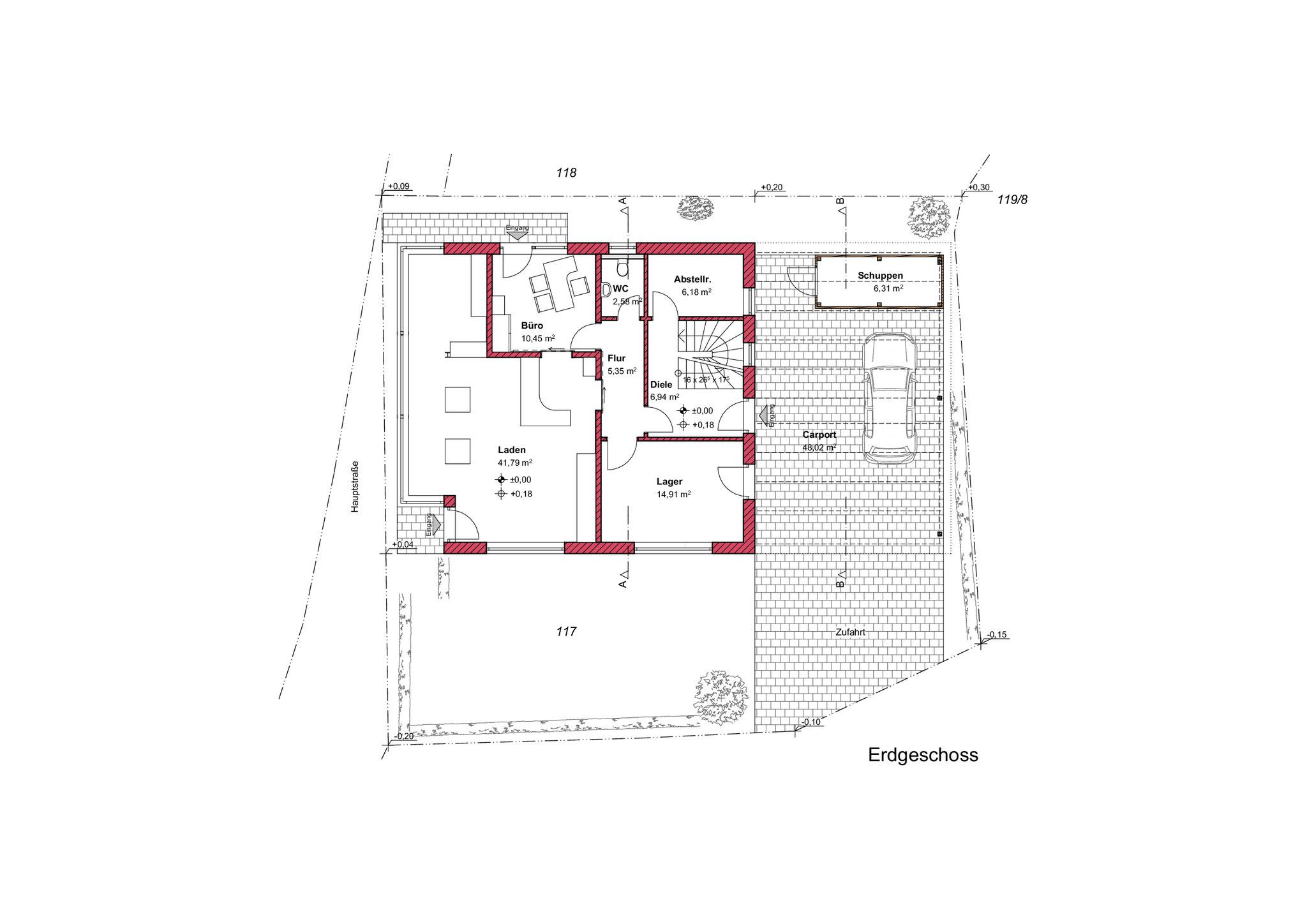 Grundriss, Erdgeschoss, Einfamilienhaus mit Geschäftsbereich in Lindenberg