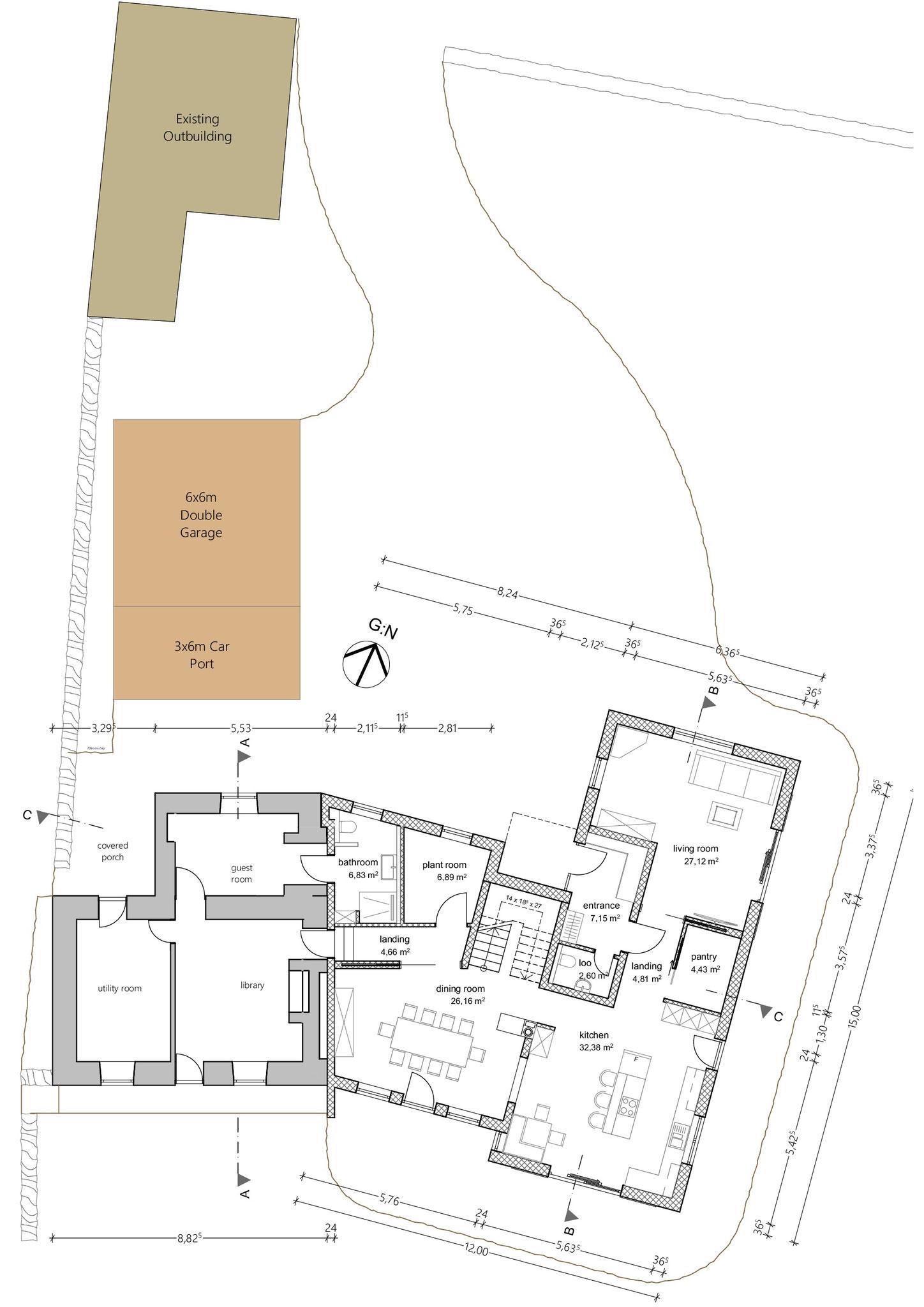 Grundriss, Erdgeschoss, Teilabbruch und Neubau Wohnhaus mit Garage in Rynys