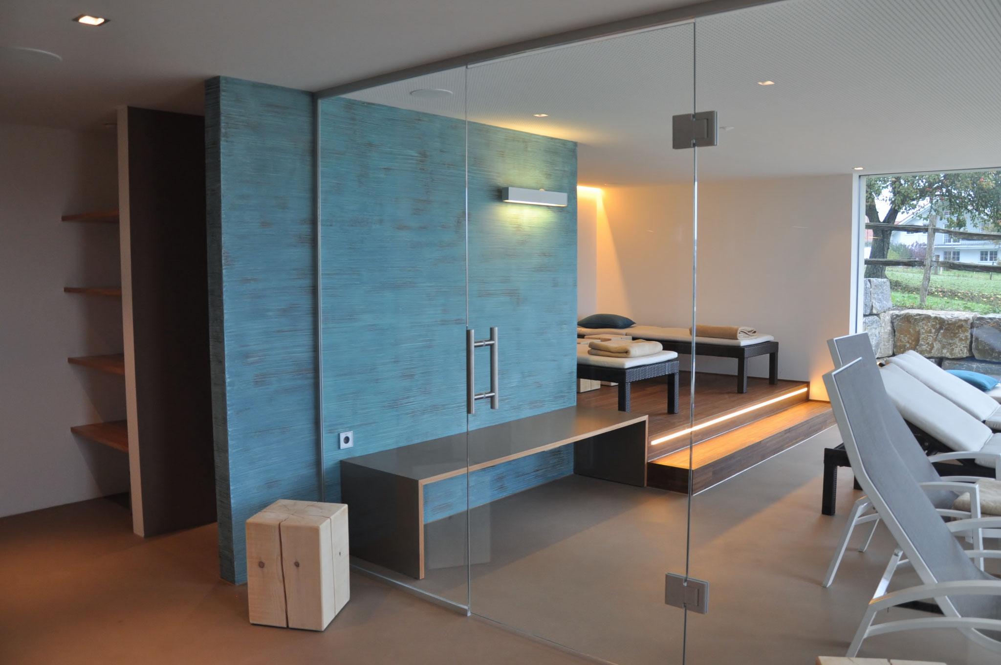 Fertigstellung, Sauna, Wellness- und Spa-Bereich, Anbau an Beherbergungsbetrieb in Scheidegg