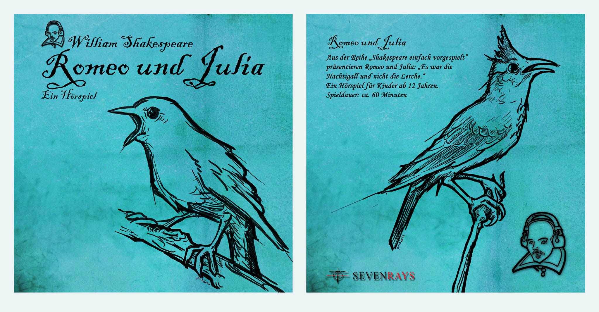 """CD-Cover einer Hörspielversion von Shakespeares """"Romeo und Julia""""."""