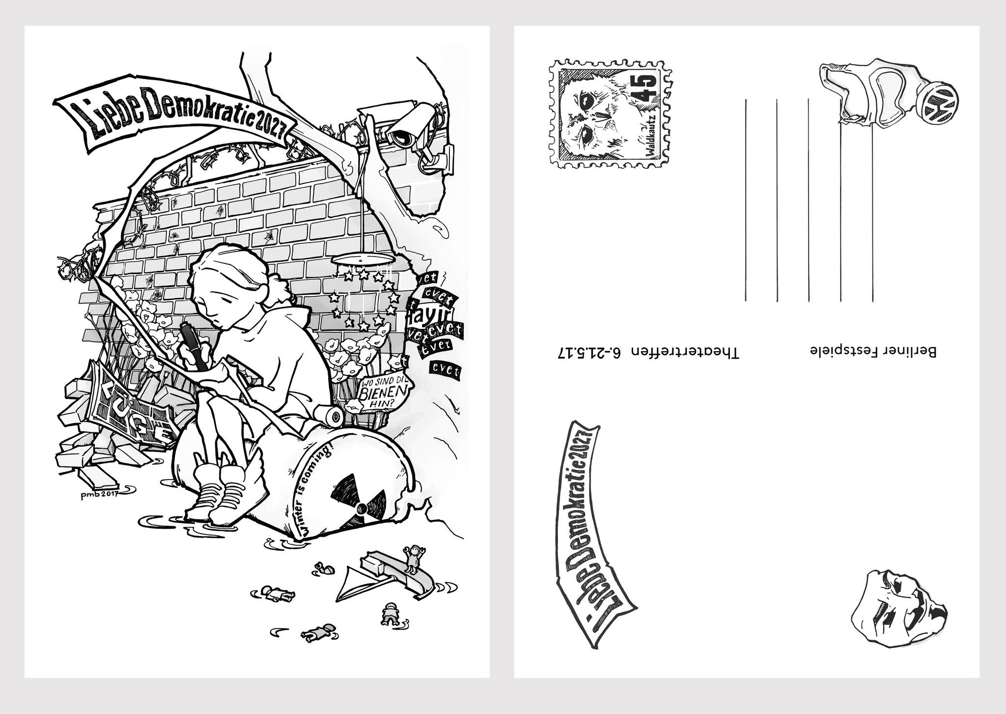 """""""Liebe Demokratie - eine Postkarte in die Zukunft"""" - meine künstlerische Intervention für die Konferenz """"The Art of Democracy"""" beim Stückemarkt des Berliner Theatertreffens 2017."""