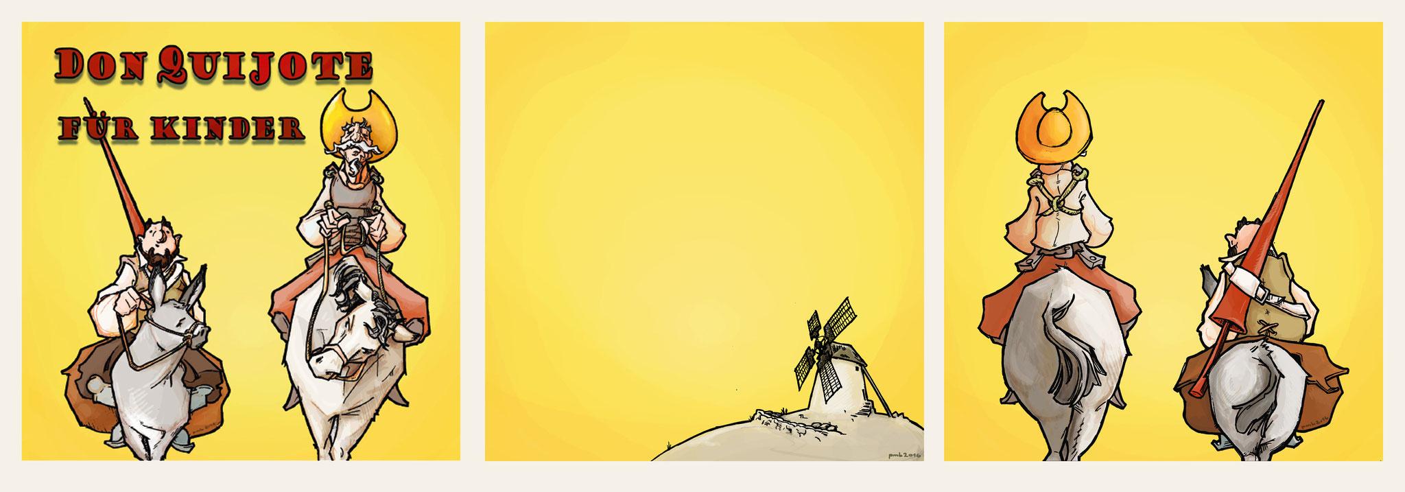 """CD-Cover eines Hörbuchs für Kinder von Cervantes' """"Don Quijote"""" von Christian Bergmann für das Instituto Cervantes, Bremen."""