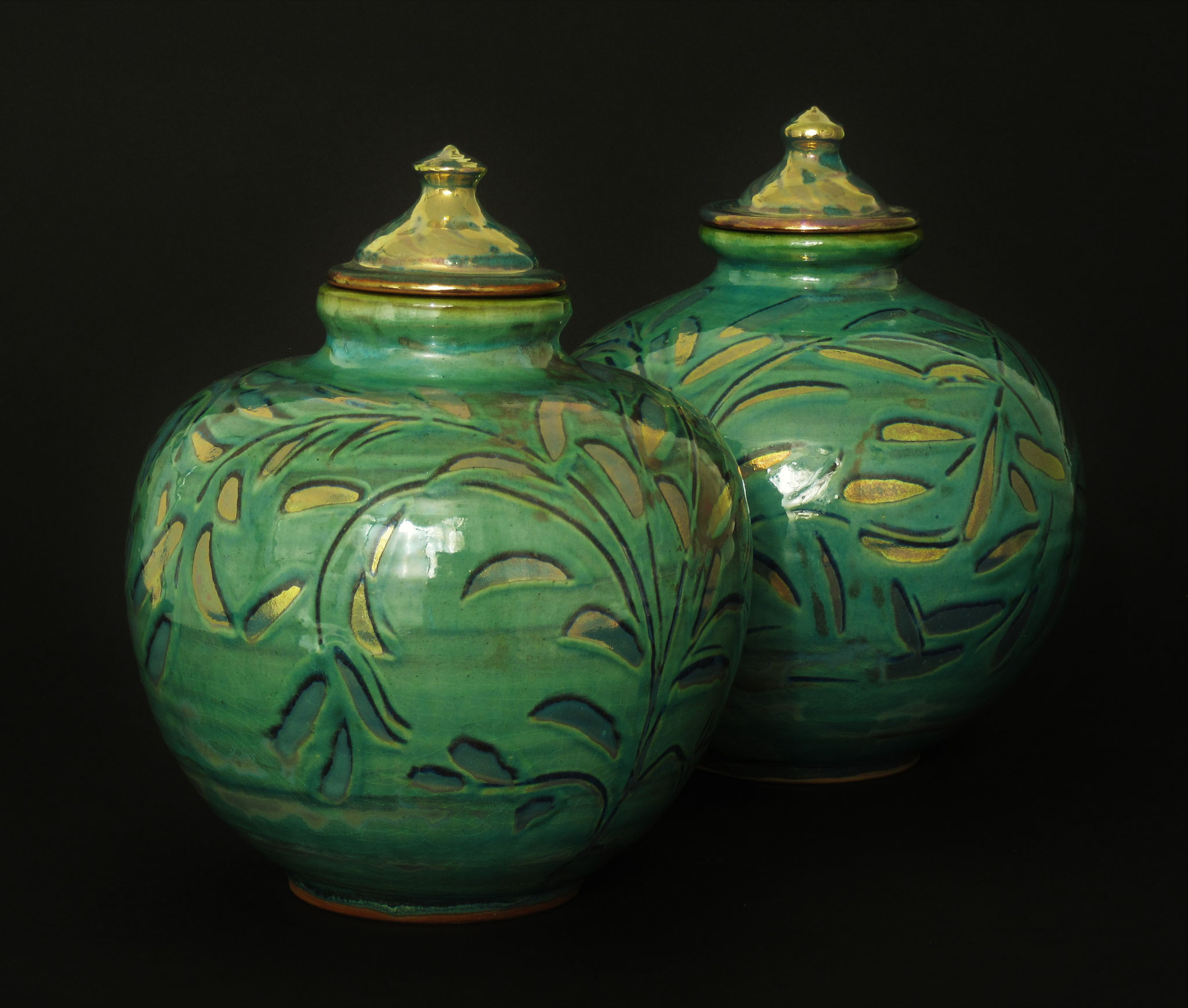 pair of large, round bottle vases (with lids). Copper green slipware-lustre. £130 each. ALL  SOLD