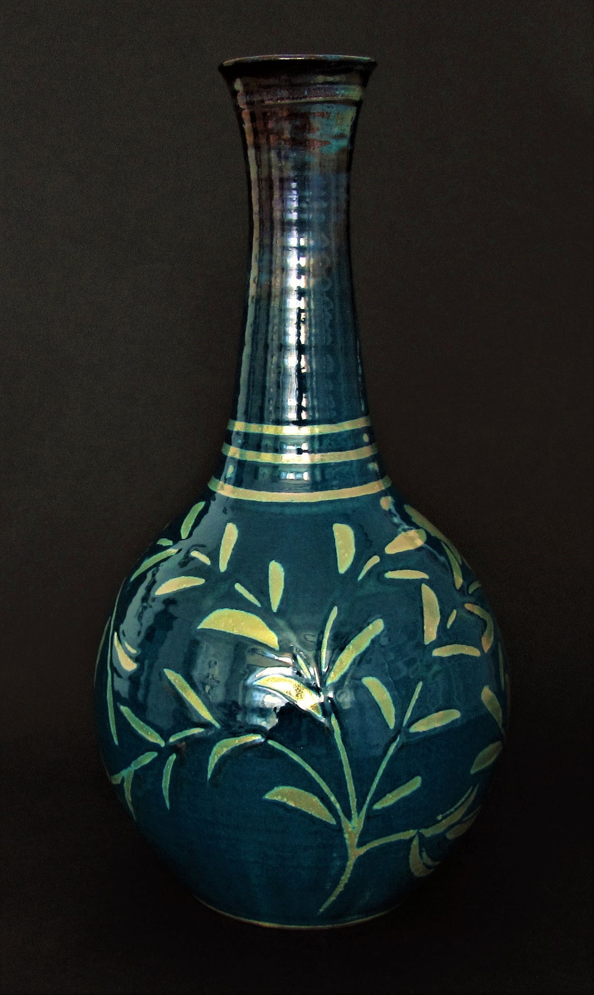 Large bottle form. deep blue with silvery lustre. £135. (£250 pair)