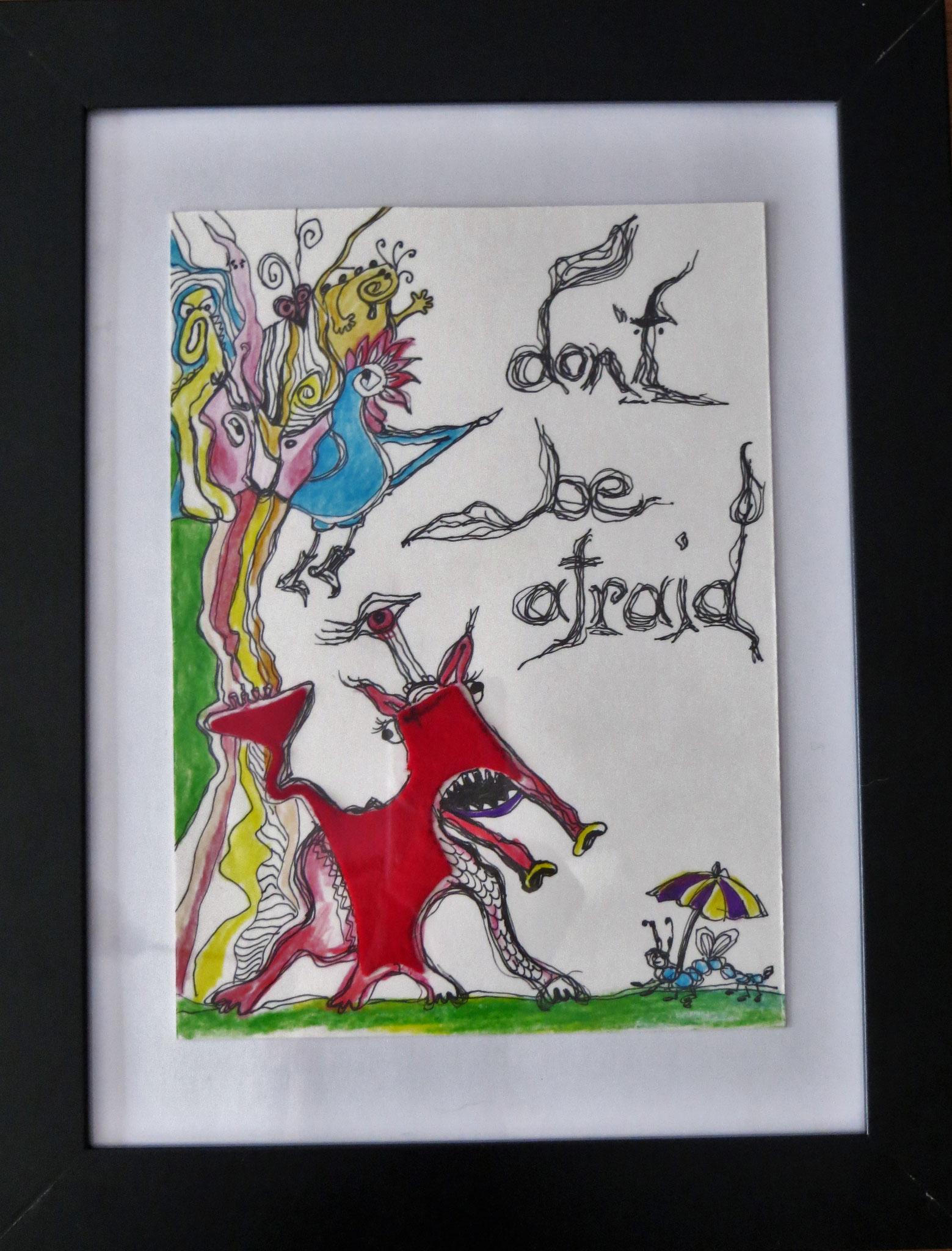 """""""don't be afraid"""" ... Inspiriert und entstanden aus einem Stoffrest :) 21x27cm mit Rahmen"""