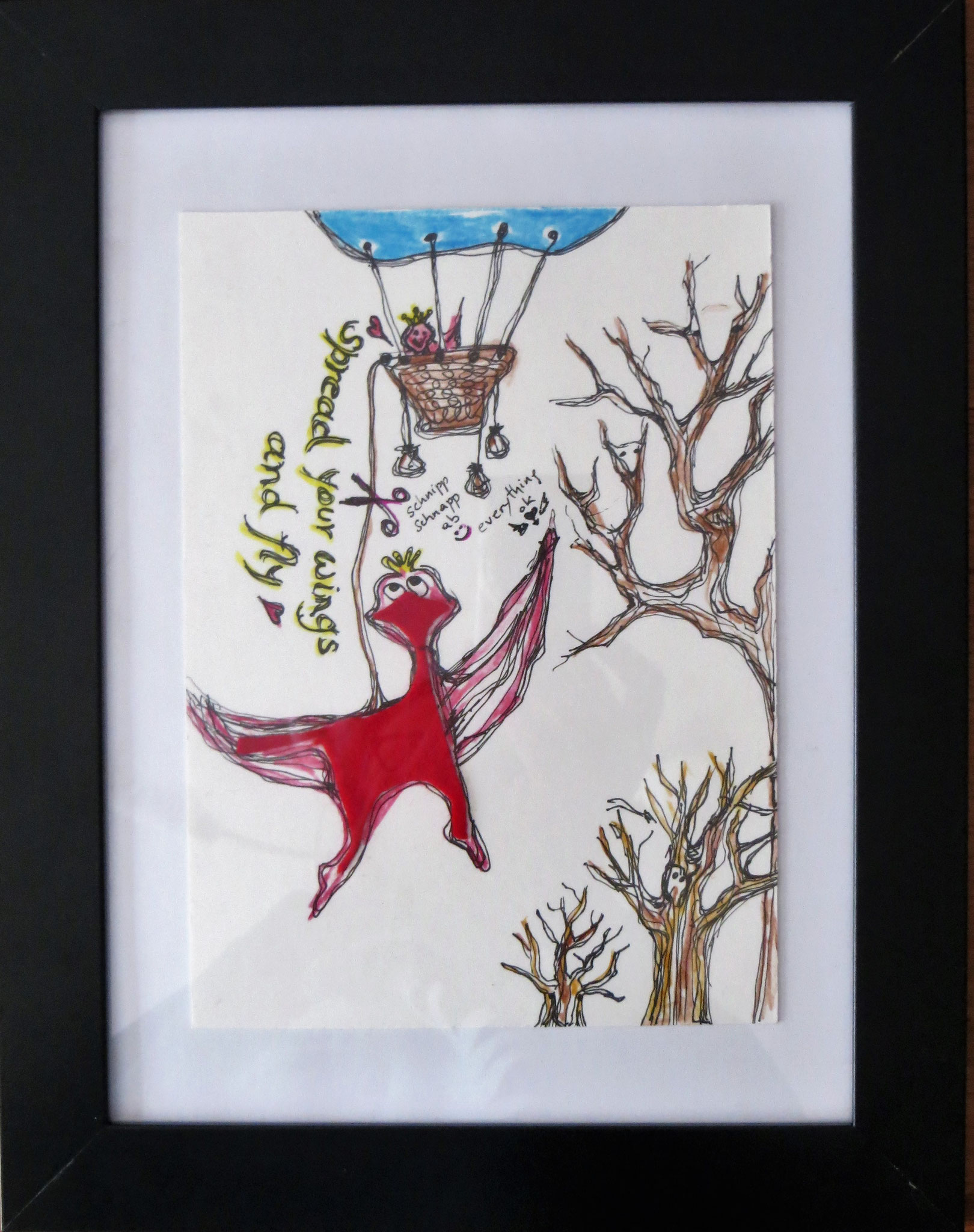 """""""spread your wings and fly, ...."""" Inspiriert und entstanden aus einem Stoffrest :) 21x27cm mit Rahmen - in guten Händen"""