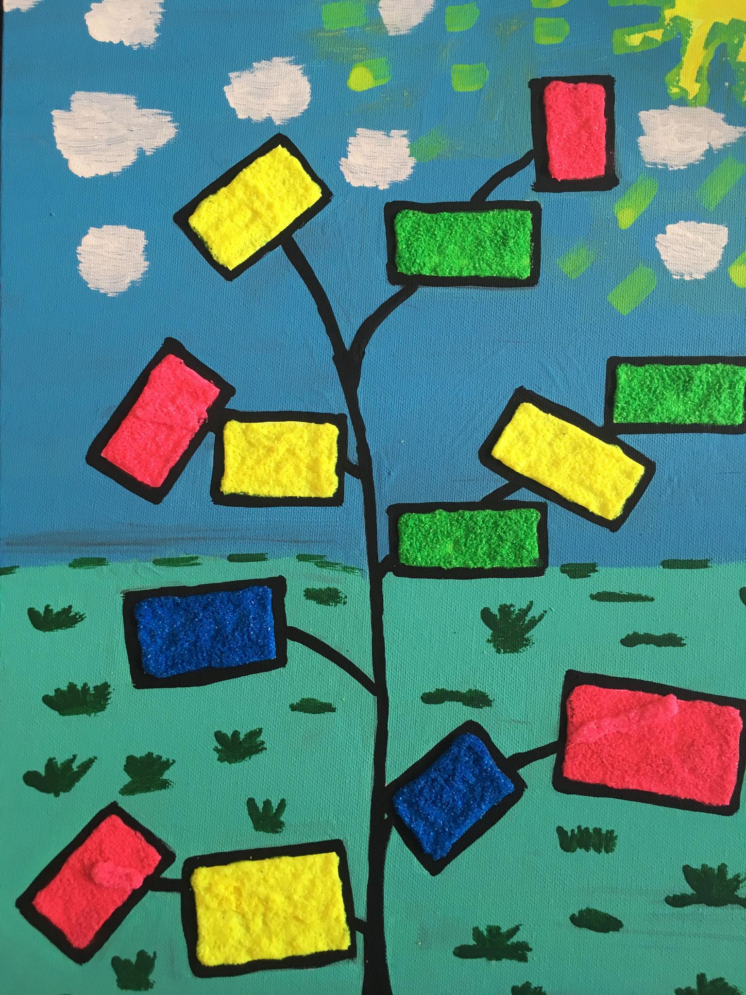 """""""arbre coloré"""" peinture acrylique 40cm x 30cm"""