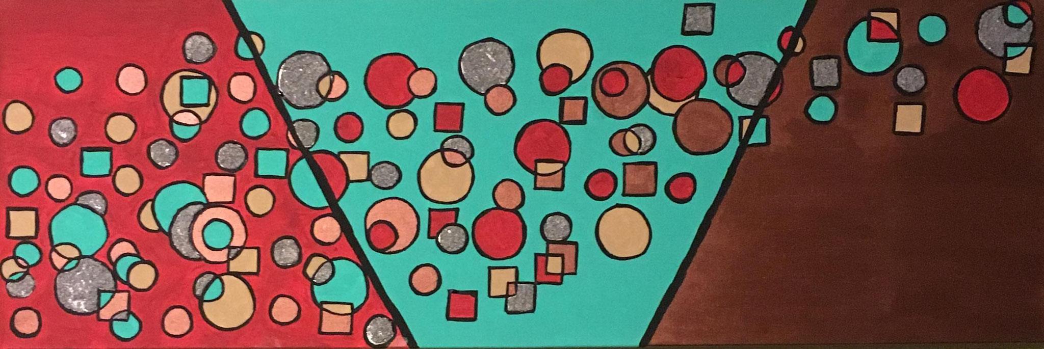 """""""envolée"""" peinture acrylique et sable 80cm sur 30cm"""
