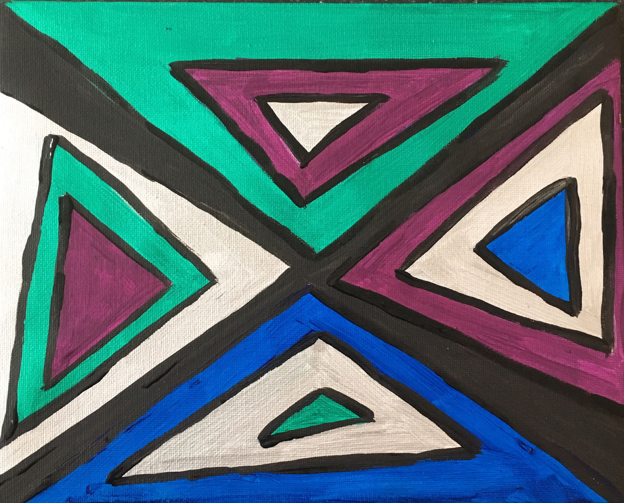 """triangles"" acrylique 25cm x 20cm"