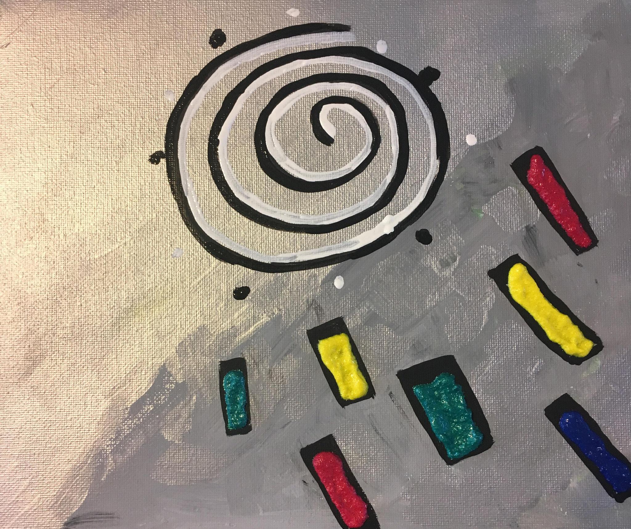 """""""spirale"""" acrylique 25cm x 20cm"""
