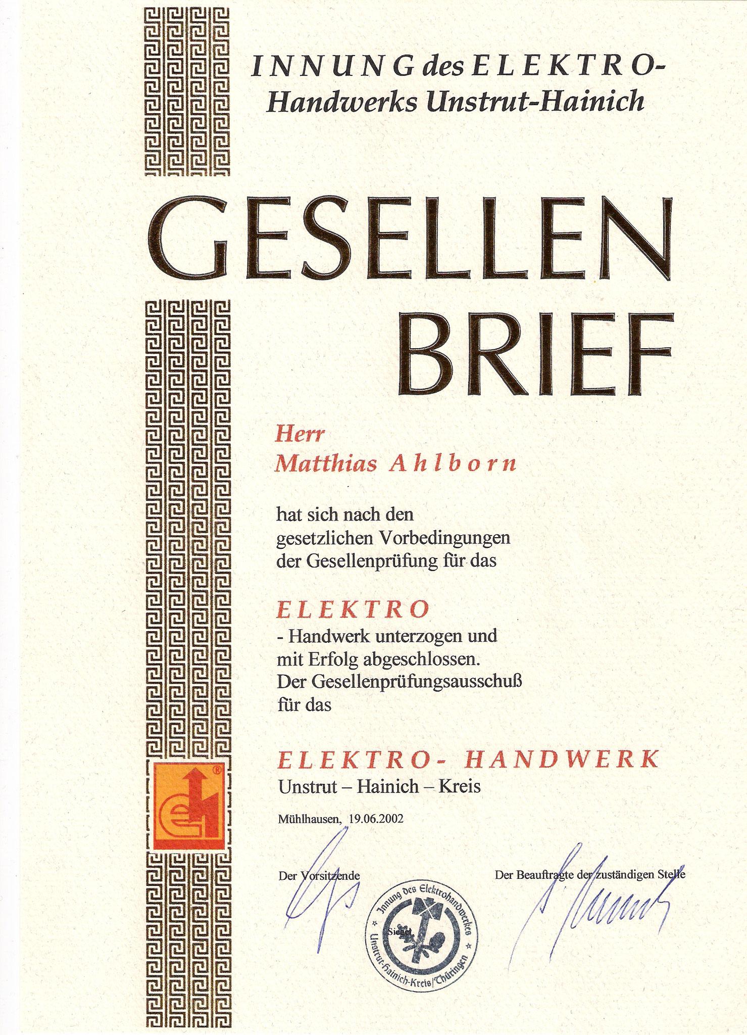 Gesellenbrief Elektroinstallateur
