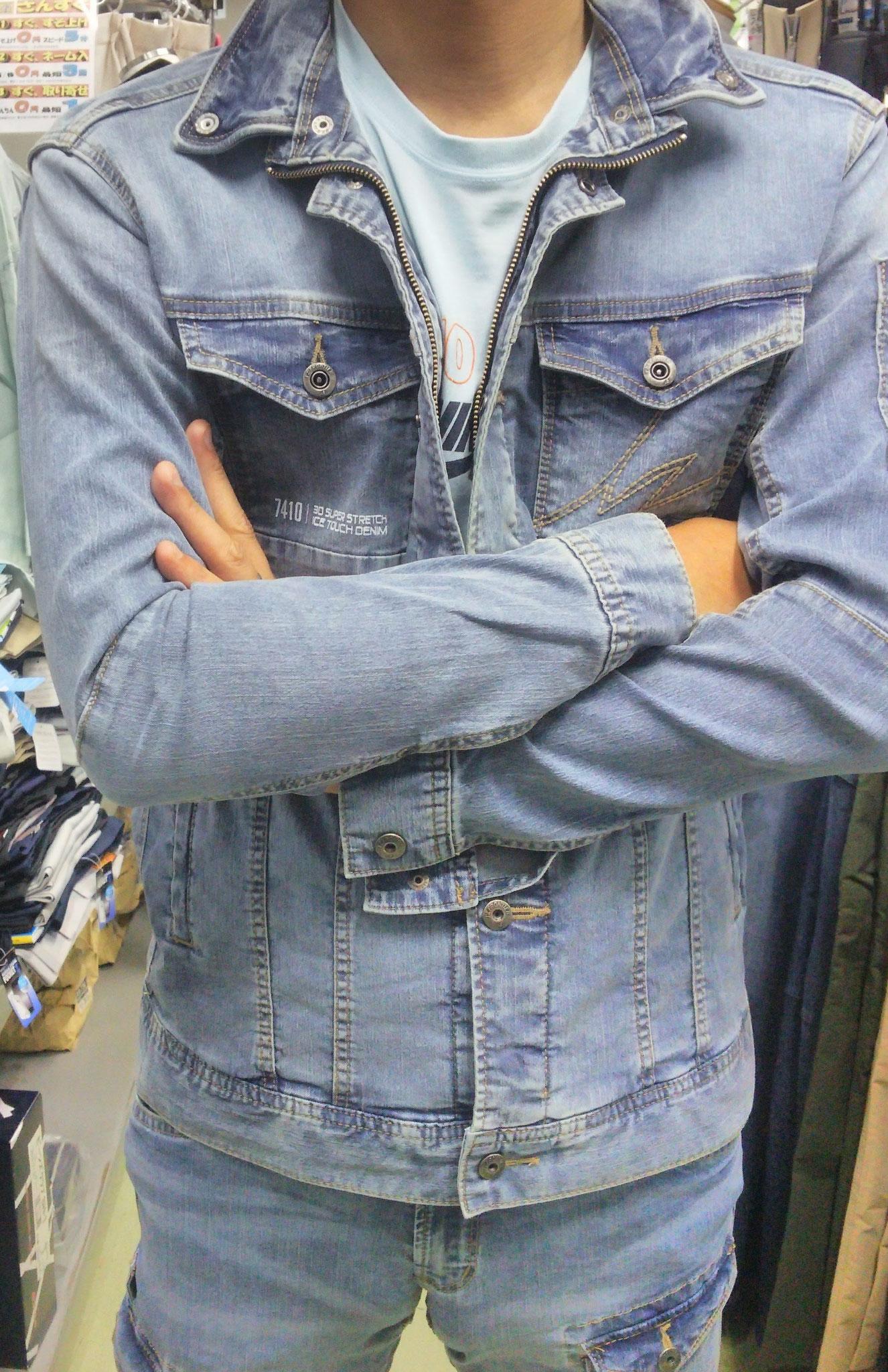 I'Z FRONTIER~アイズフロンティア~アイスタッチデニム。実際に着てみました。腕のあたりがひんやりします。