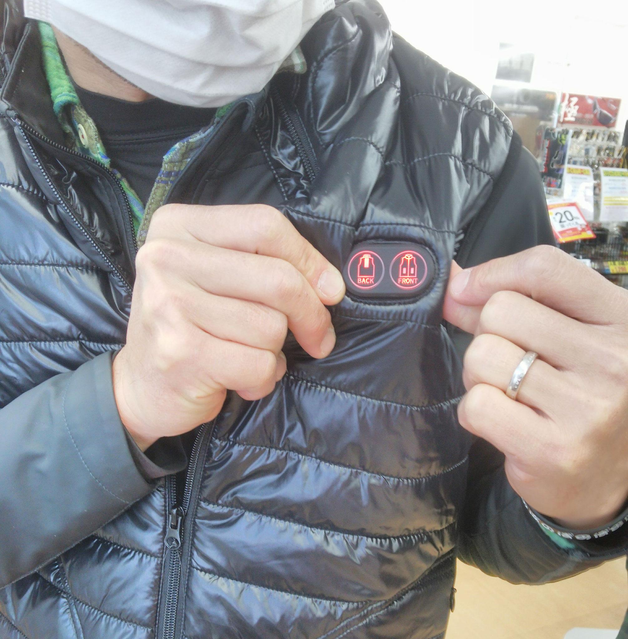 押すだけ簡単→赤色・高温50℃ 連続6時間稼働