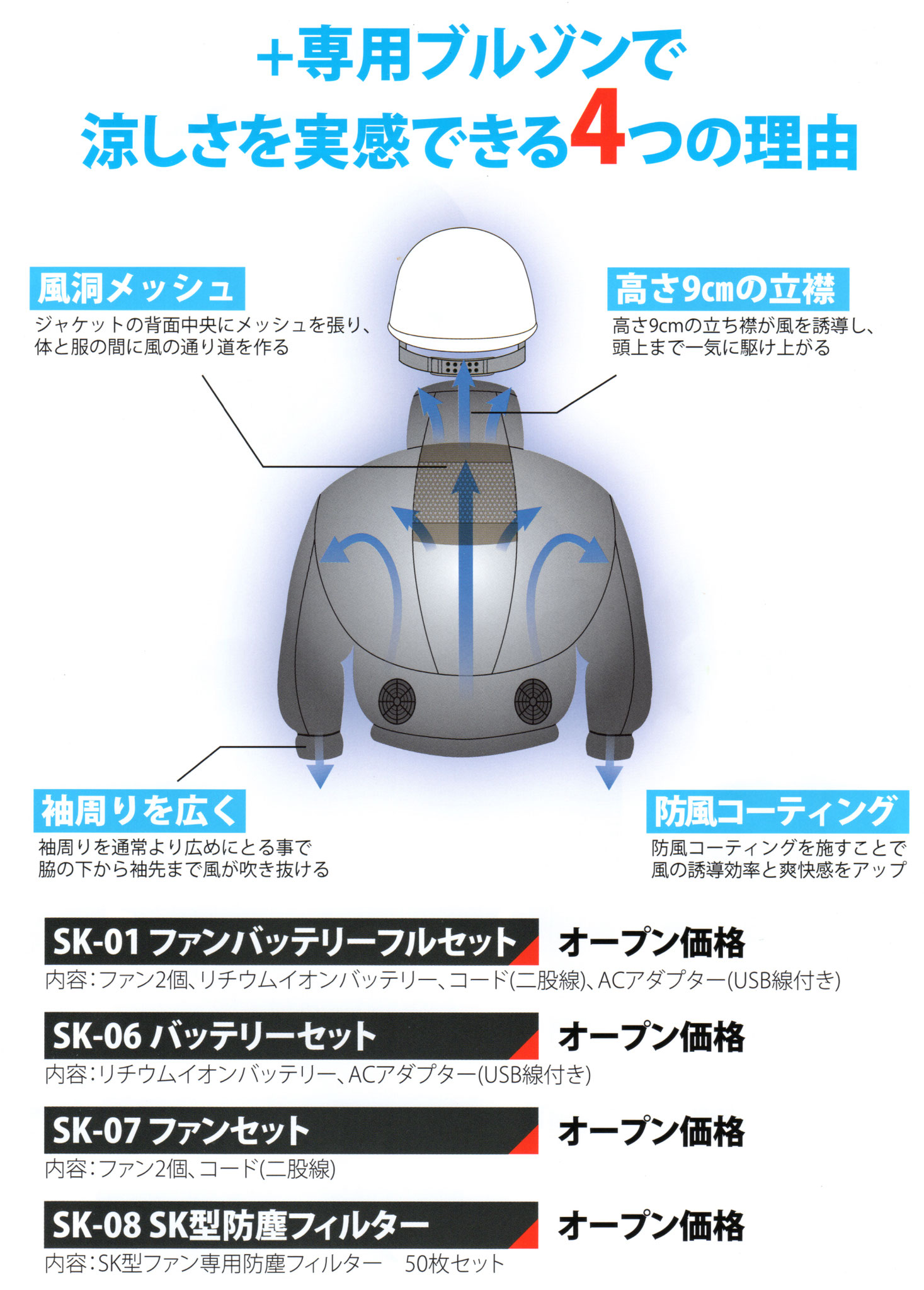 258601 空調ブルゾン ¥3,990(税込)涼しさを実現する、4つの秘密!!