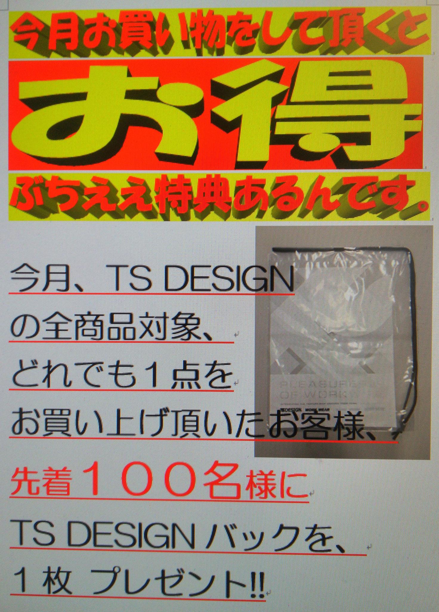 TS DESIGN オリジナルバックをプレゼント中!!