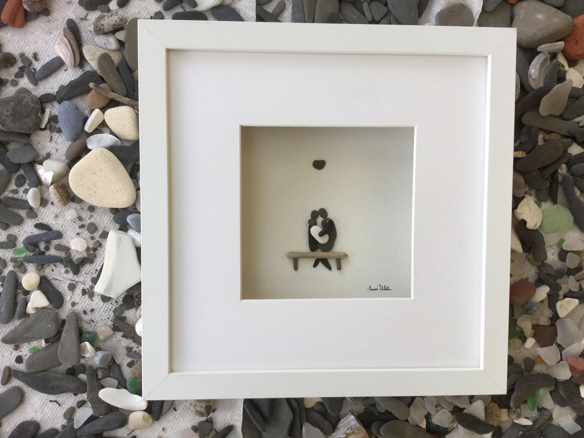 Pebble Art Couple wiht Baby
