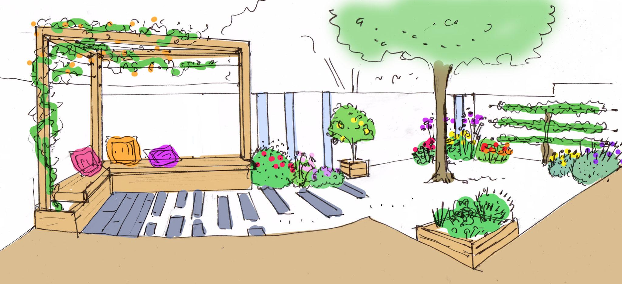 Coin détente pour ce tout petit jardin de ville