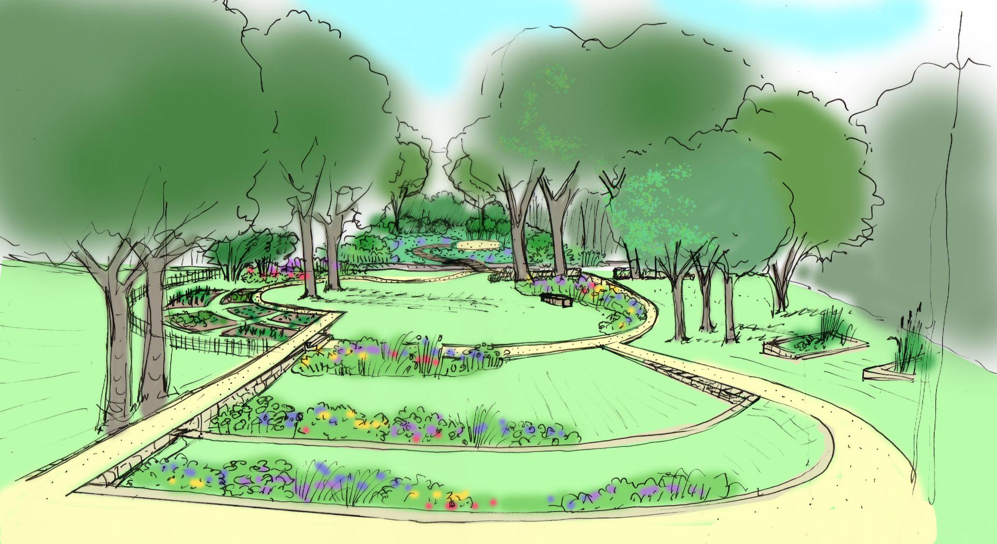 Jardin en bord de rivière