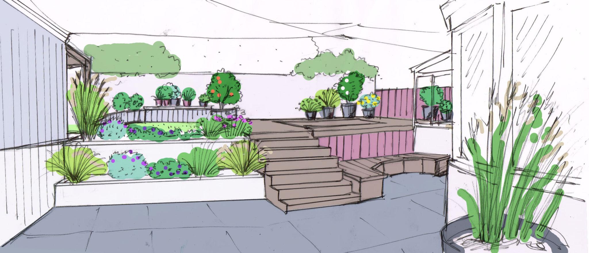 Petit jardin de ville, jeux de niveaux et couleurs