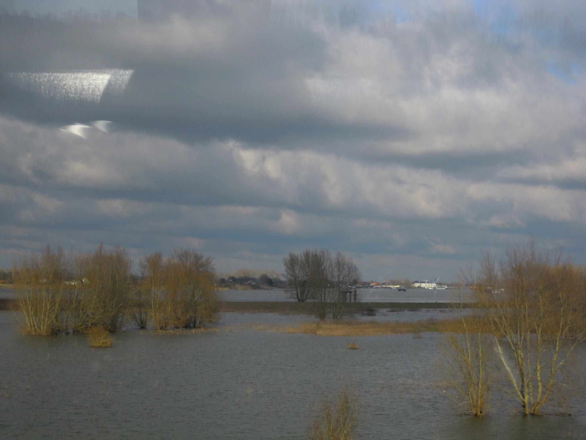 In der überschwemmten Aue ist der Flusslauf kaum zu erkennen.