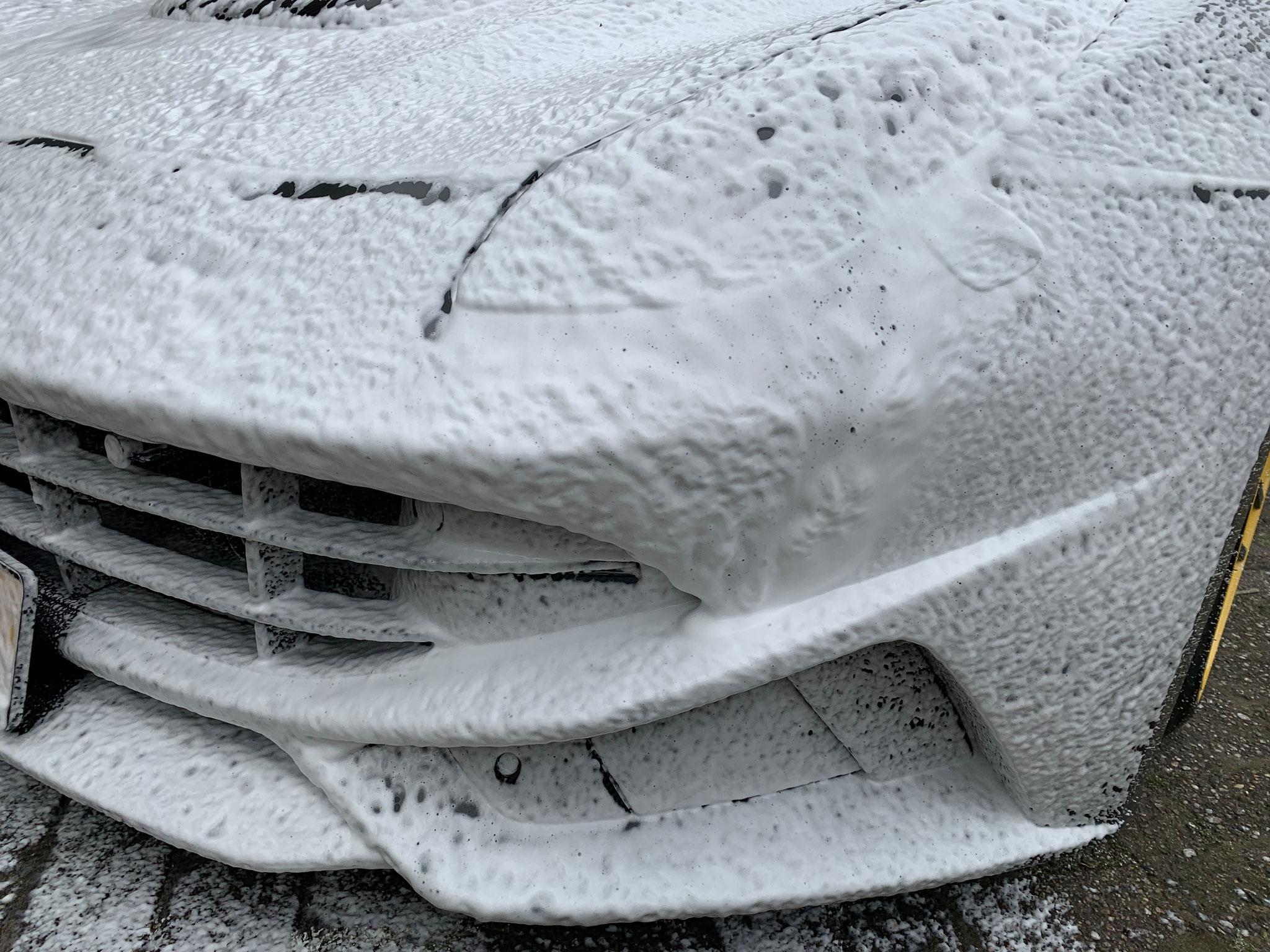 Ferrari bij ontvangst, veilig reinigen doormiddel van een ph neutrale snow foam