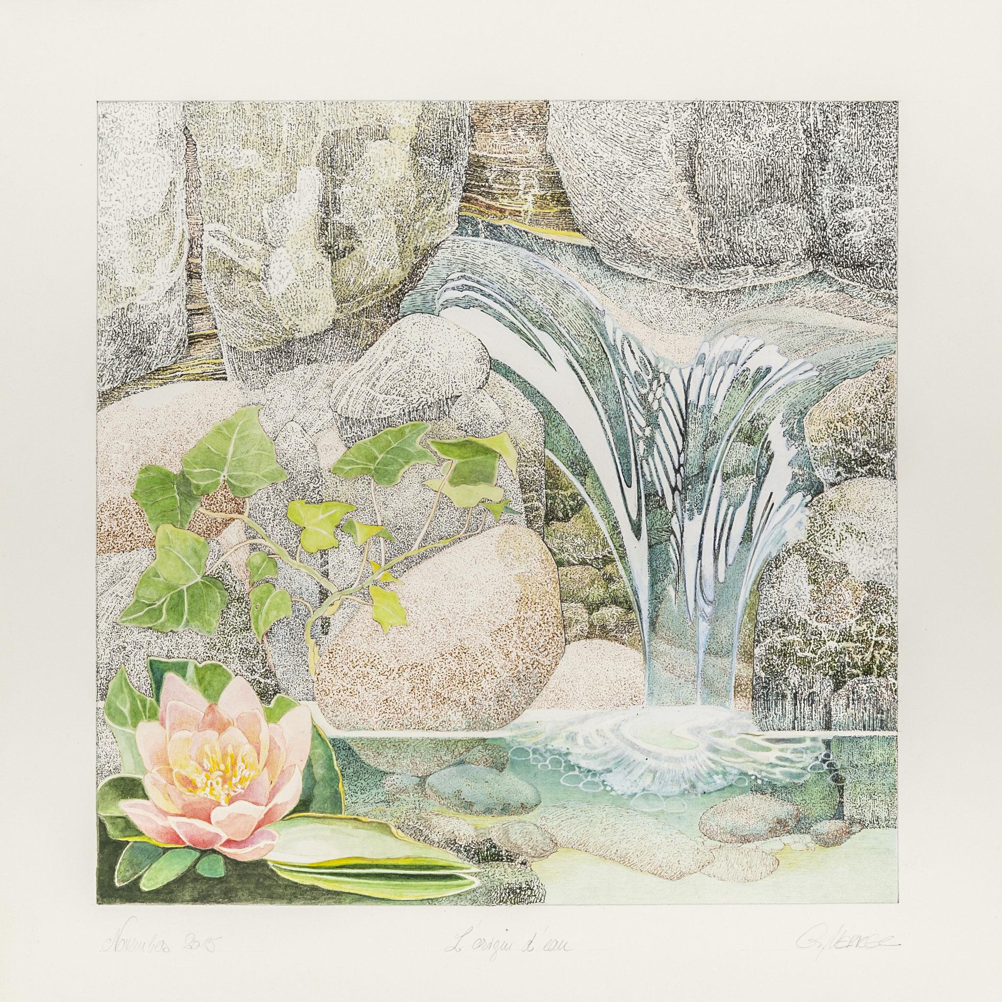 L´Origine d´eau, 2016, Farbstifte, Tusche, Arches-Büttenpapier, 26*26 cm, 1080 €