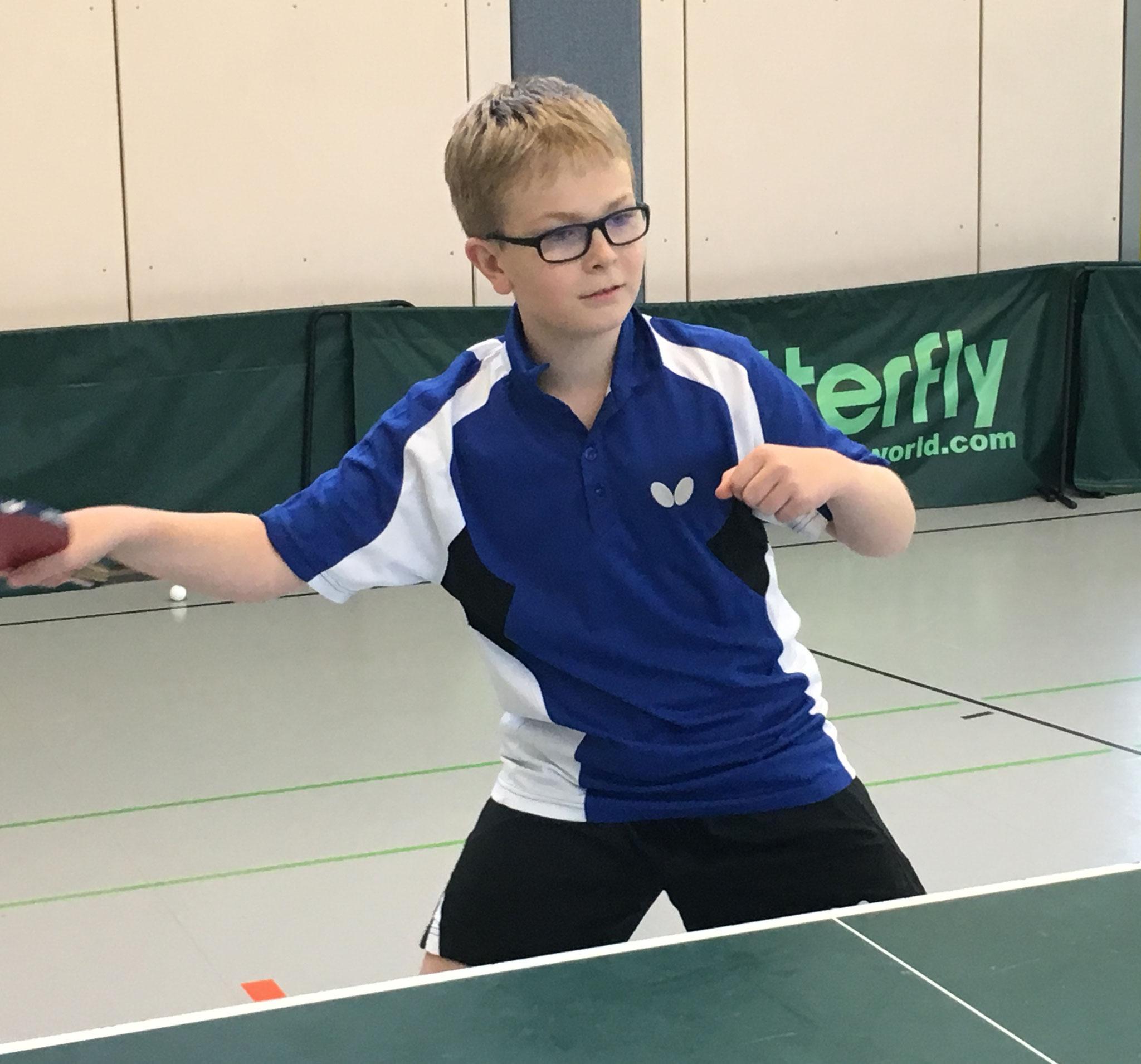 Der Autor des Bericht, Jonathan Friedel, gewann sein Einzel im Spiel gegen Staffel mit 3-0