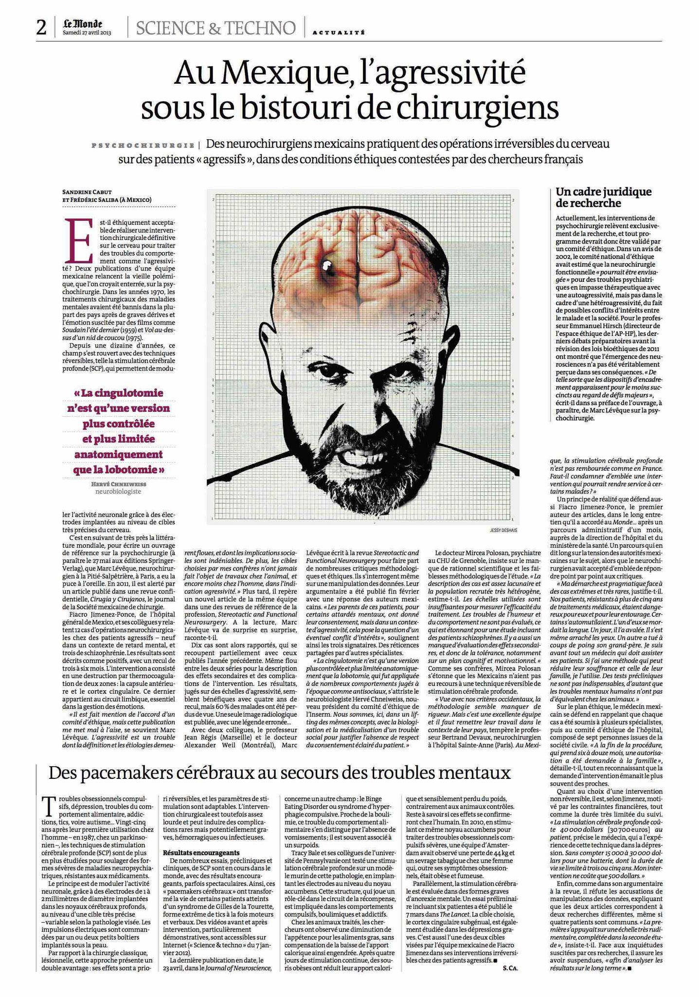 Le Monde - Au Mexique, l'agressivité sous le bistouri de chirurgiens - 27/04/2013