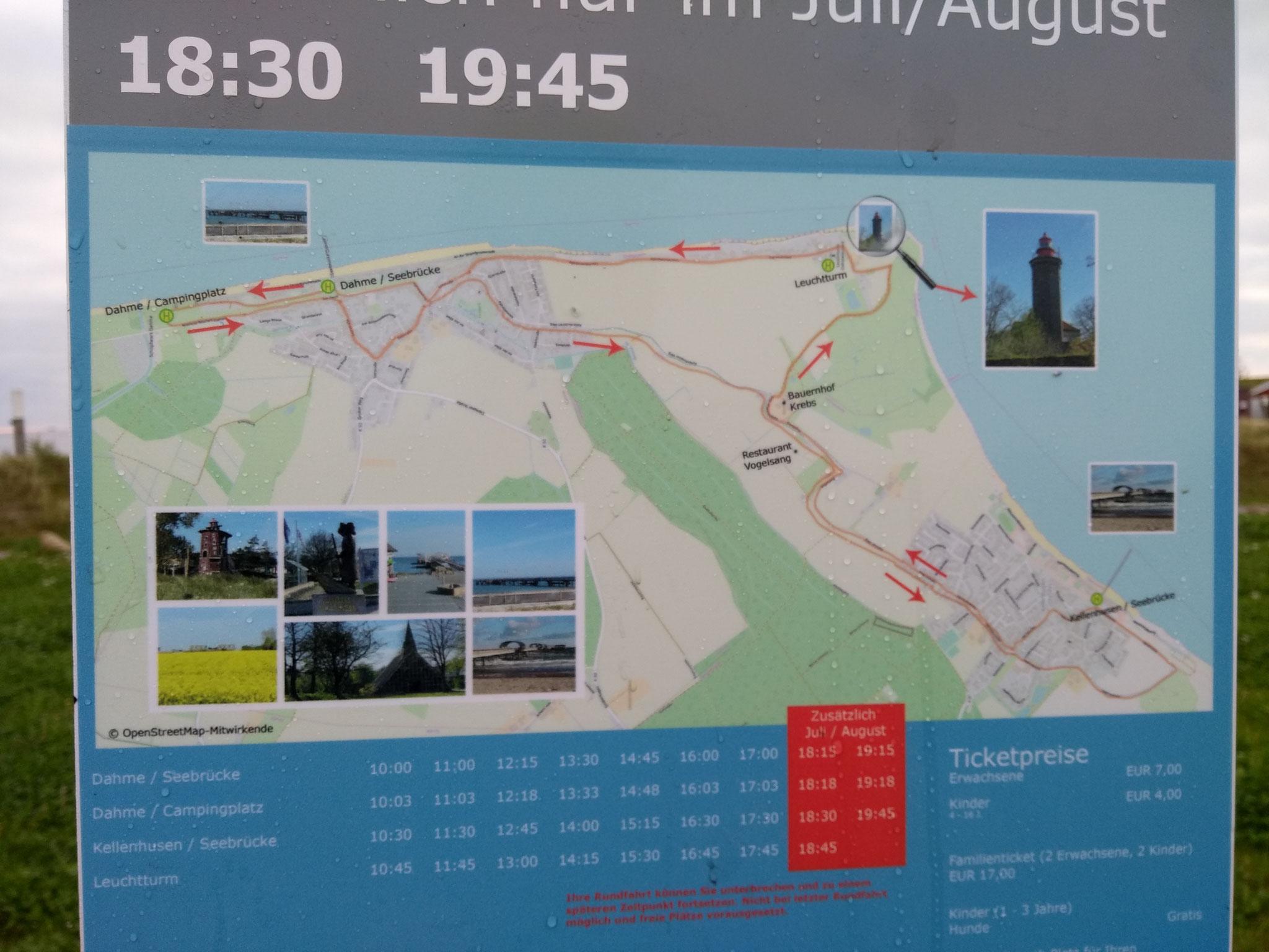 Die Route geht vom Nysted Platz/Seebrücke in Dahme bis zur Seebrücke in Kellenhusen