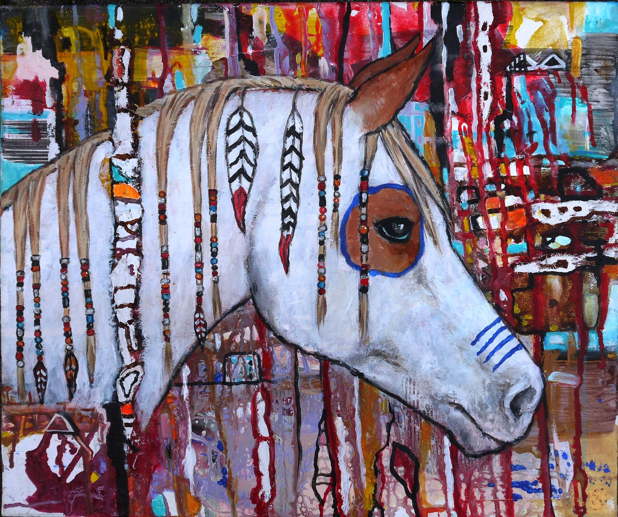 Mister Alamo, Acryl, Mixed Media, 50 x 60 cm, 160 Euro