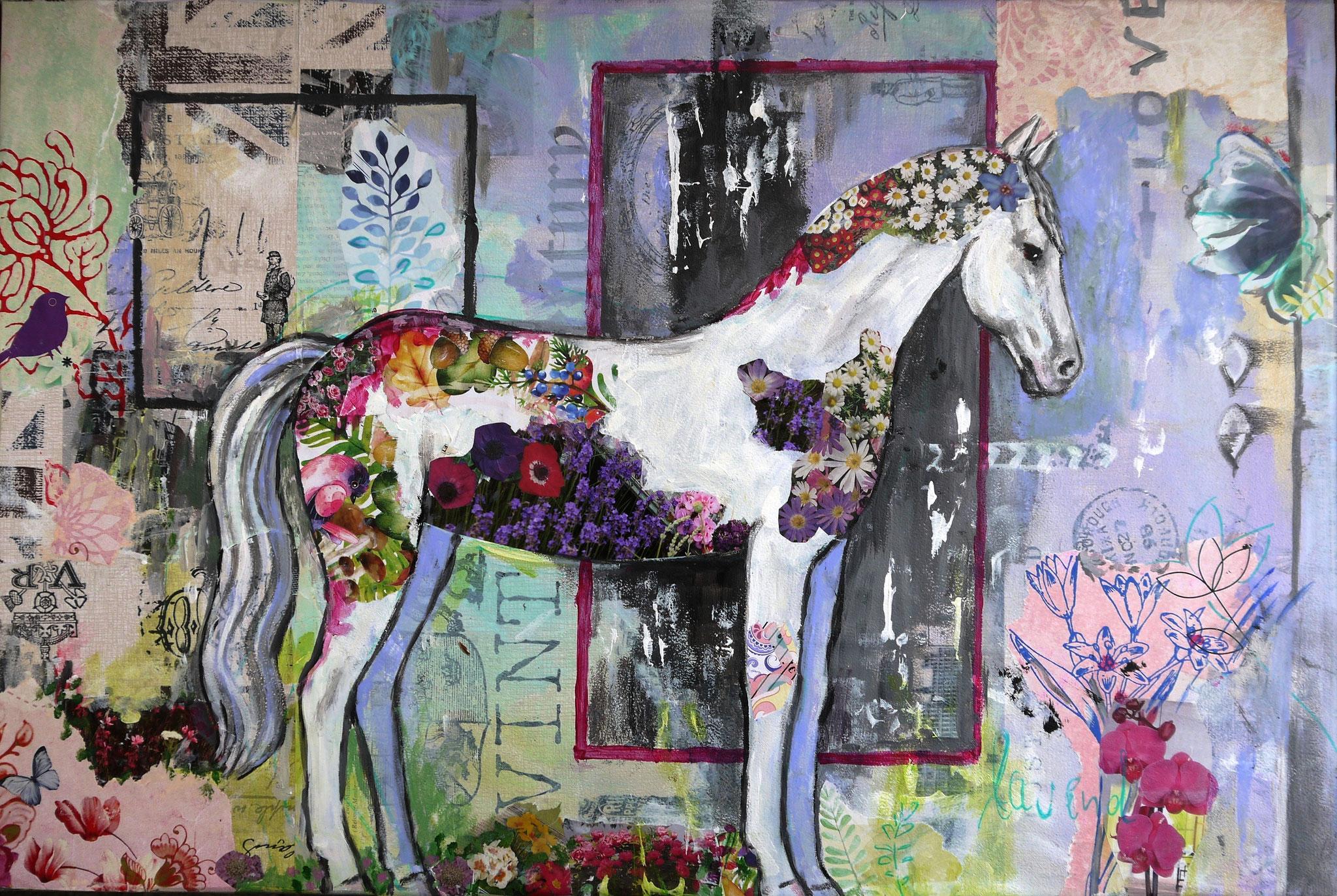 I love Daisies, Acryl, Mixed Media, 40 x 50 cm, 120 Euro