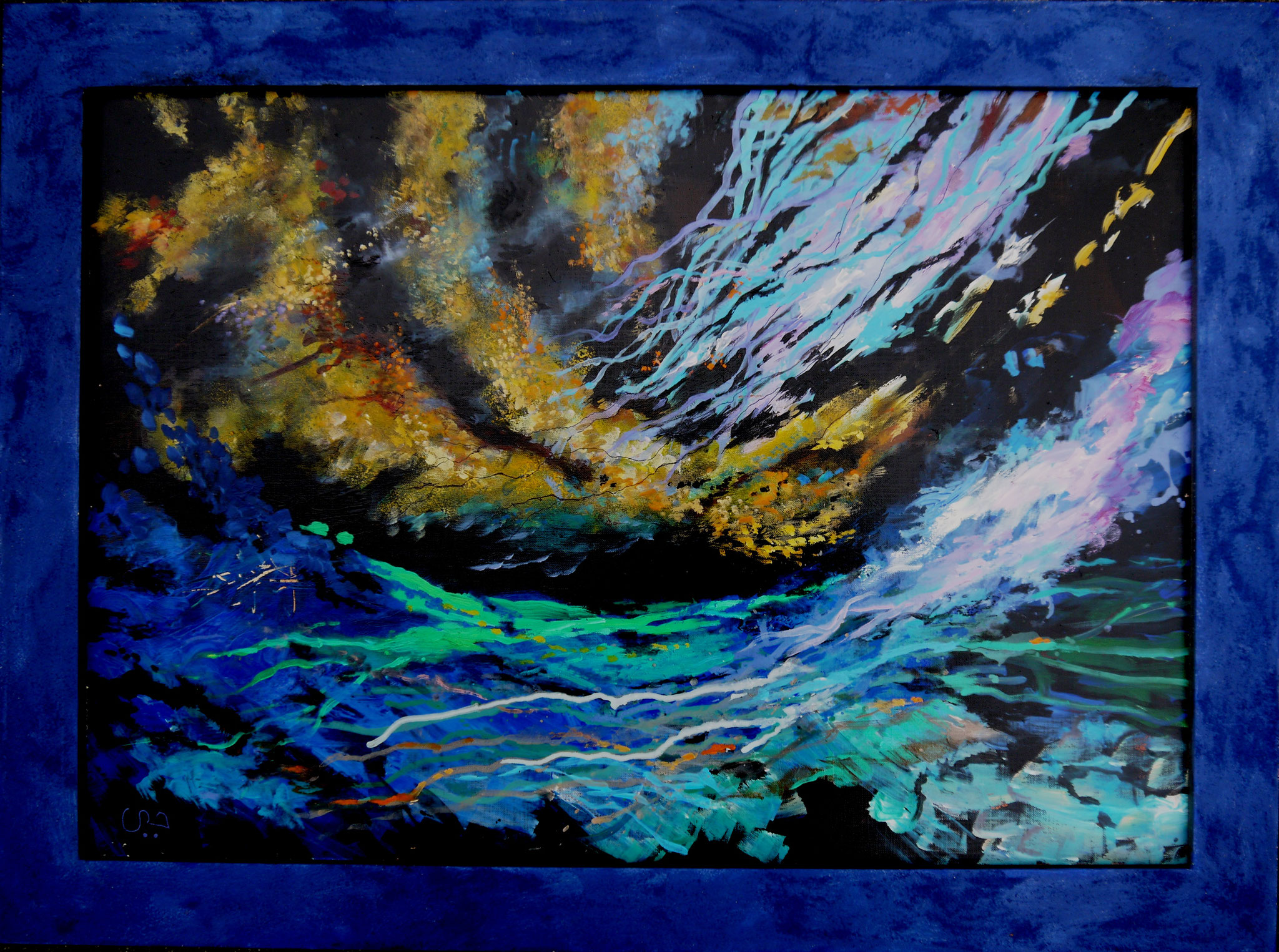 OFFSHORE, Öl und Sand auf Leinwand, 50 x 70 cm, in blauem Rahmen, 370 Euro