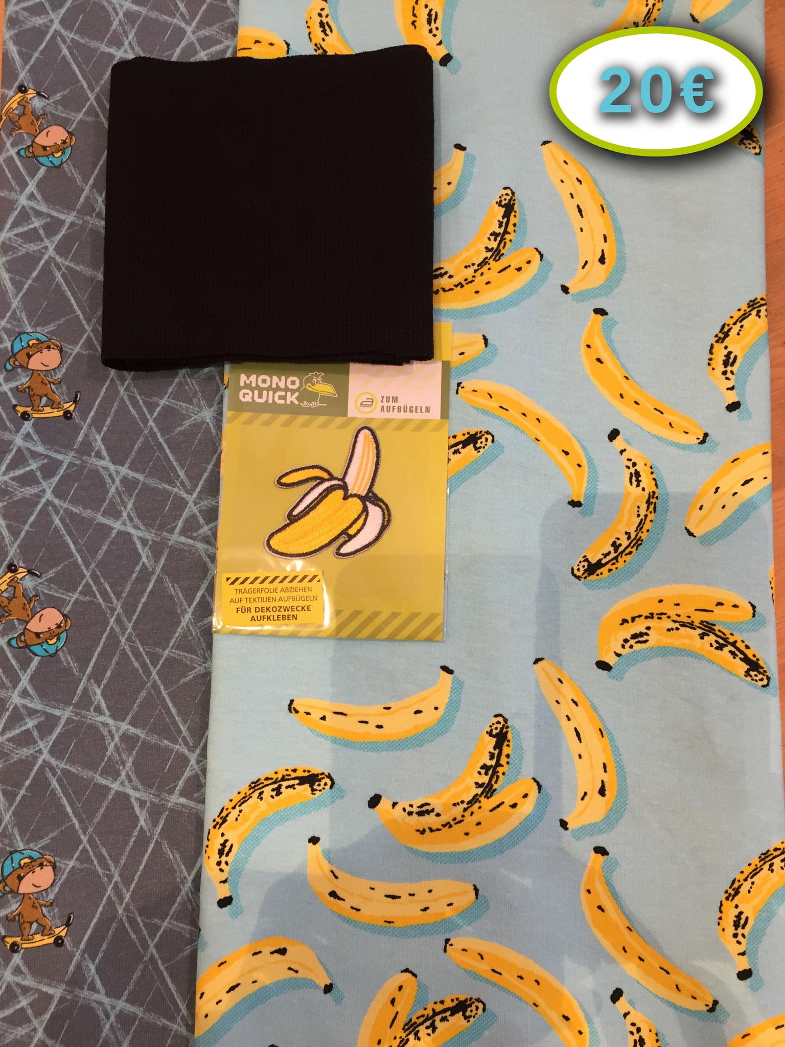 Je 50x155 cm Lollipop Icons und Banana Board von Hilco (95% BW; 5% EL), inkl. 10x100 cm Hilco Bündchenstrick im Schlauch (schwarz) und Bananen-Applikation