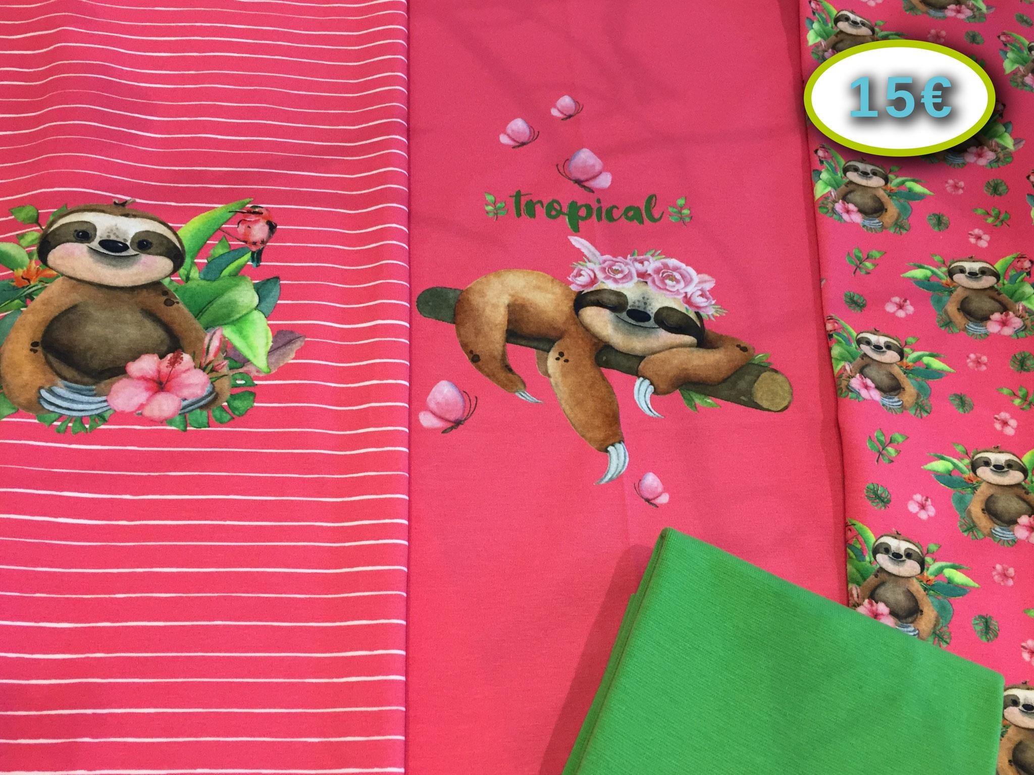 Stenzo 3-teiliges Faultier-Jersey-Panel 75 x 150 cm, 95% BW, 5% EL inkl. 30 x 35 cm Lillestoff-Bündchen im Schlauch