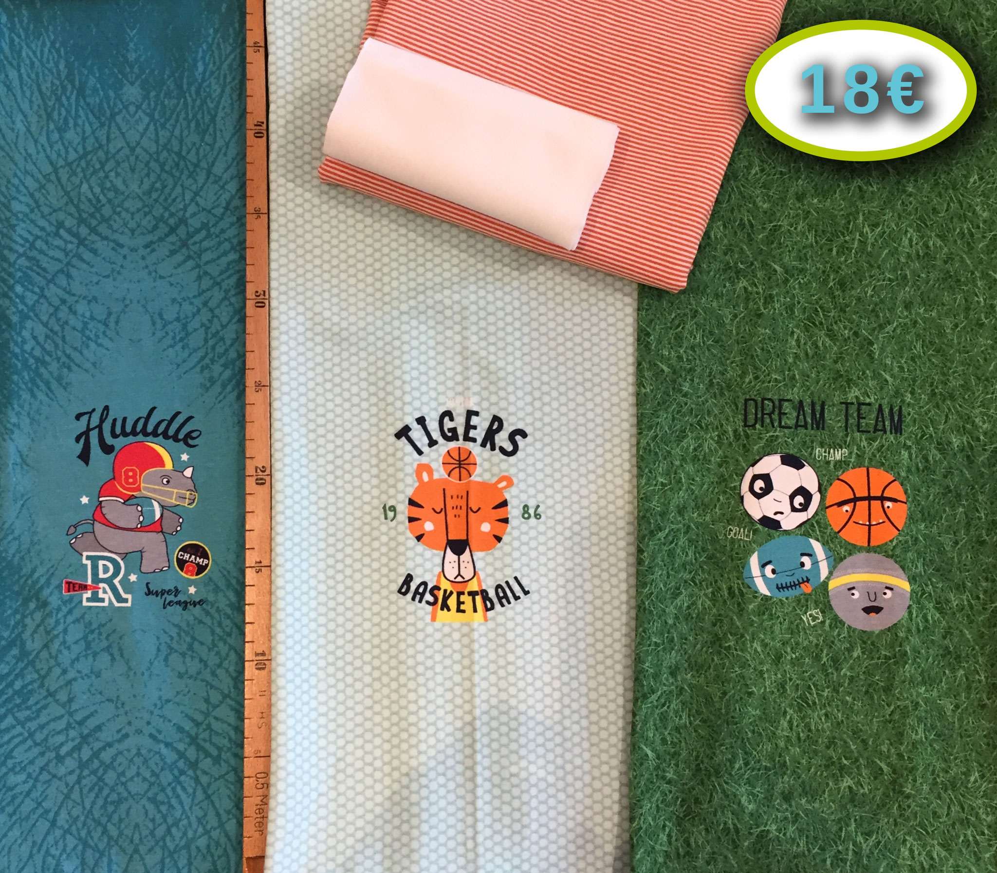 Sport-Trio-Panel von Hilco, ca. 55 cm x 160  cm, 90%BW, 10% EL, 50 cm x 160 cm Stenzo-Jersey orange-weiß, 10 cm Bündchenstoff weiß